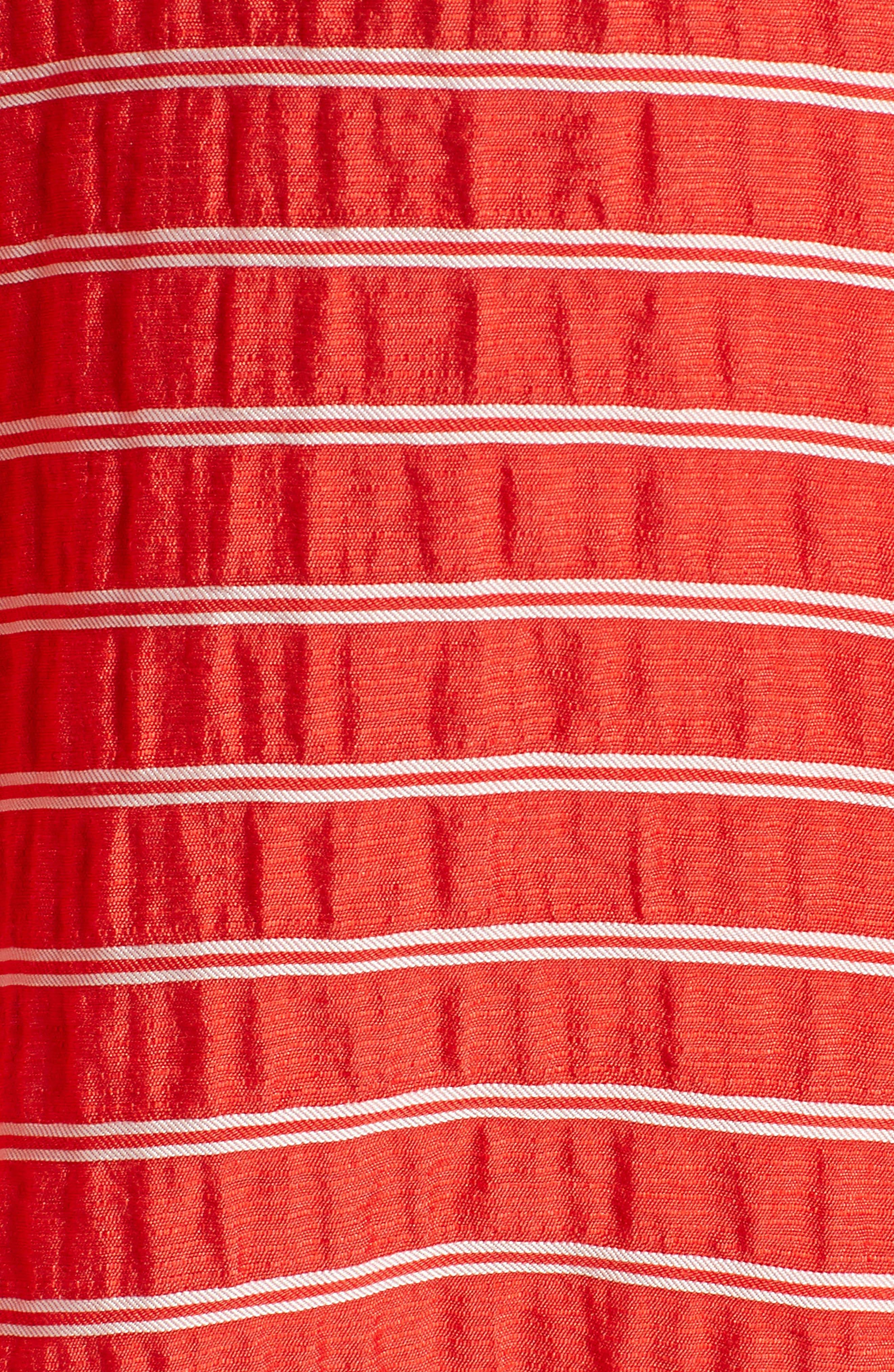 LOU & GREY, Sunny Stripe Drawstring Waist Blouse, Alternate thumbnail 5, color, 600