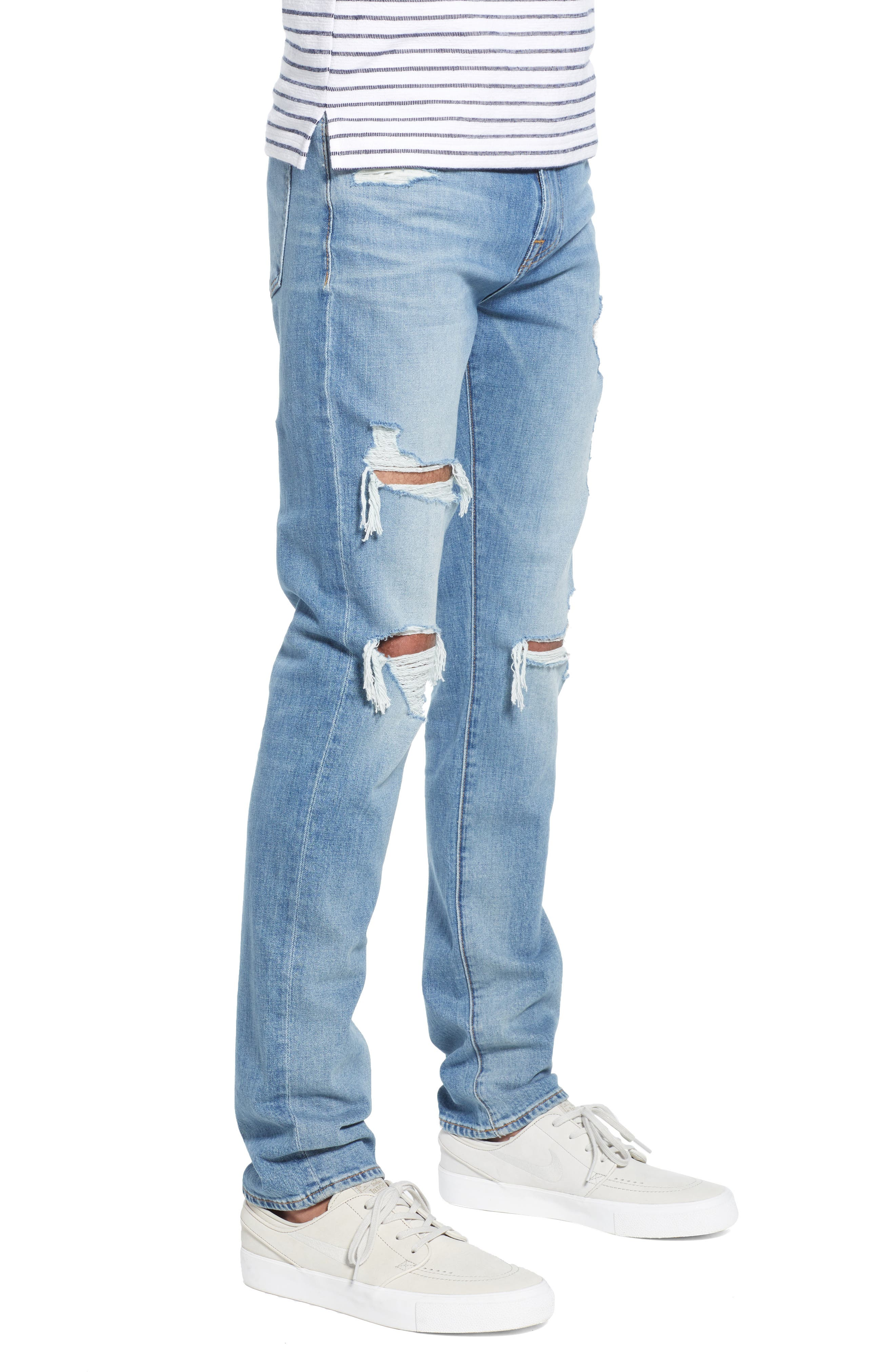 7 FOR ALL MANKIND<SUP>®</SUP>, Paxtyn Ripped Skinny Jeans, Alternate thumbnail 4, color, CONQUISTAD