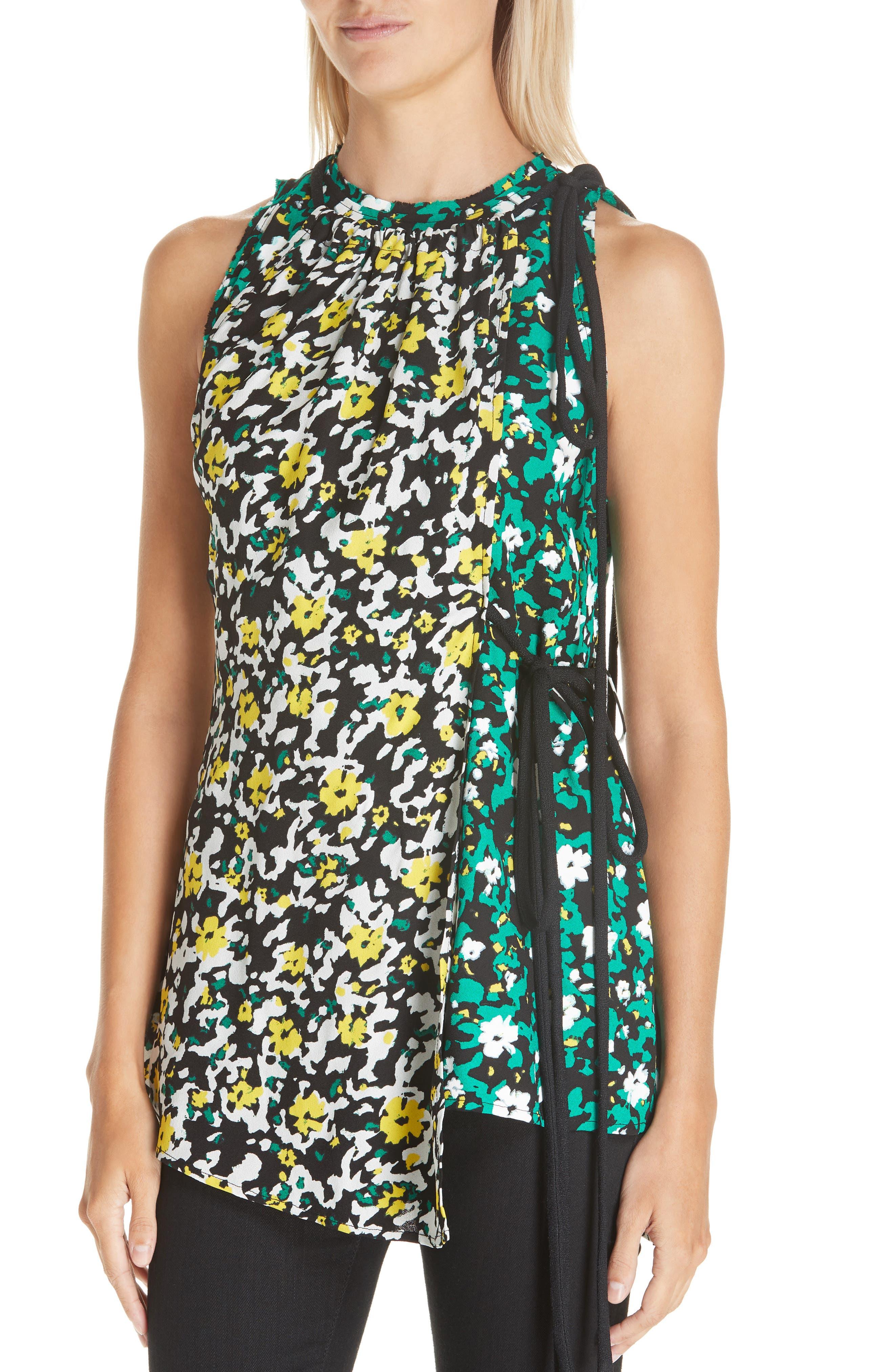 PROENZA SCHOULER, Side Tie Floral Print Blouse, Alternate thumbnail 4, color, WHITE WILDFLOWER