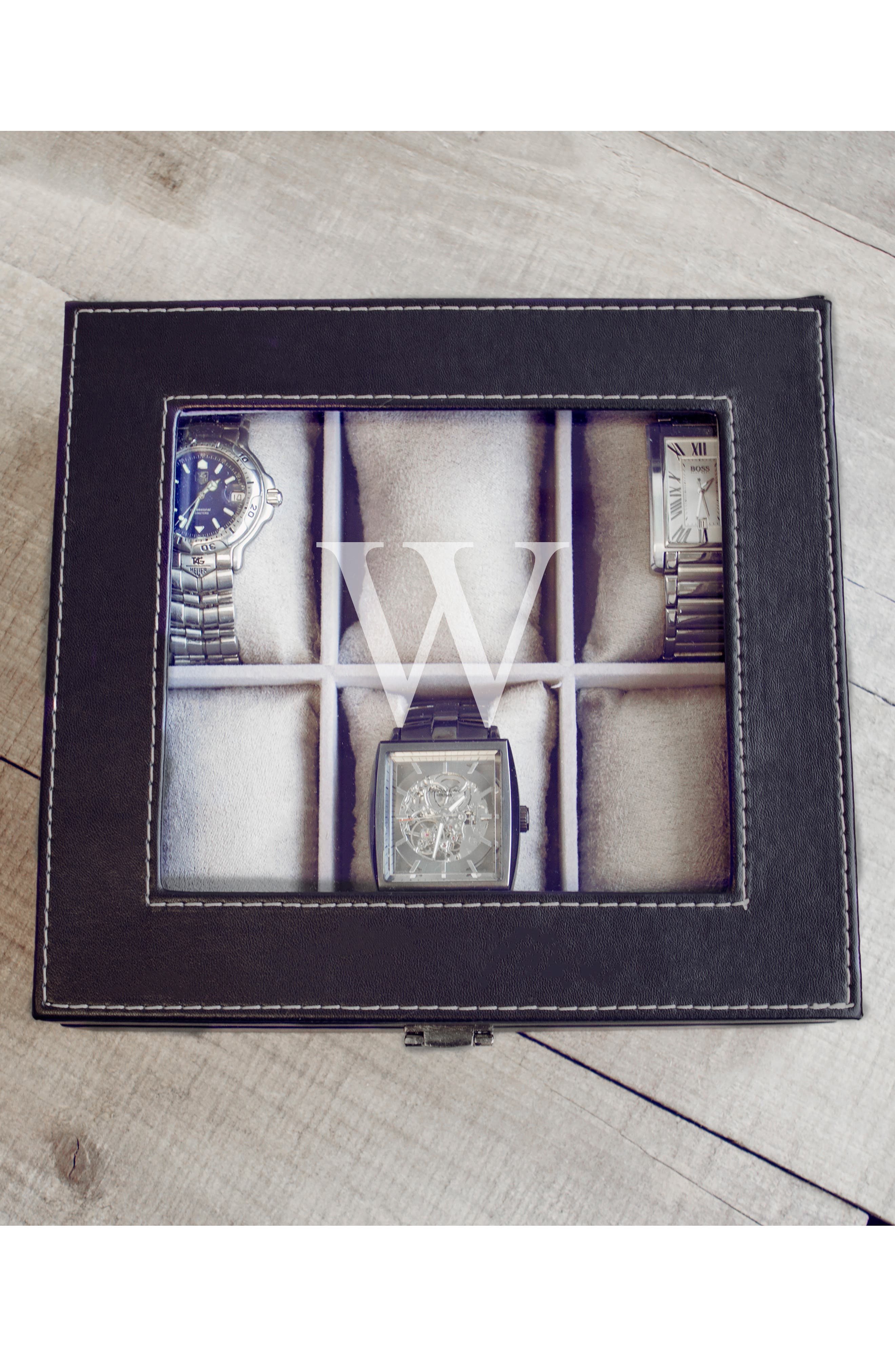 CATHY'S CONCEPTS, Monogram Watch Box, Alternate thumbnail 4, color, W