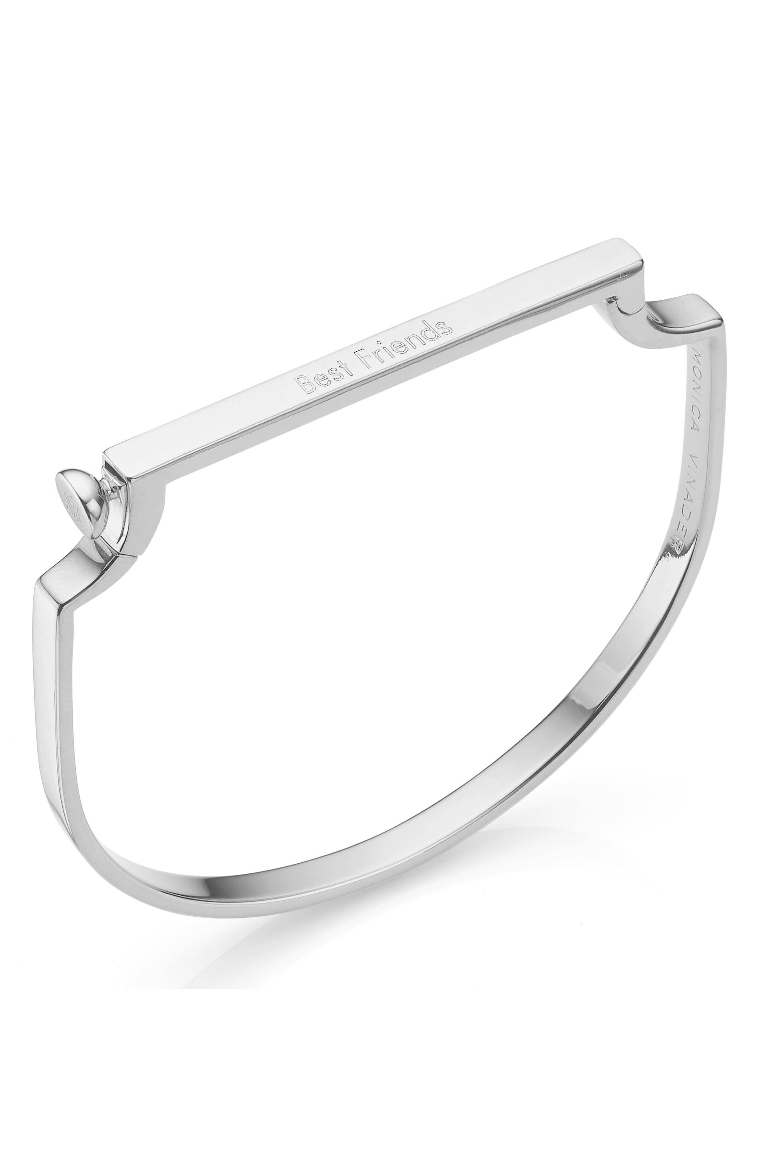 MONICA VINADER, Engravable Signature Thin Bangle Bracelet, Alternate thumbnail 4, color, SILVER