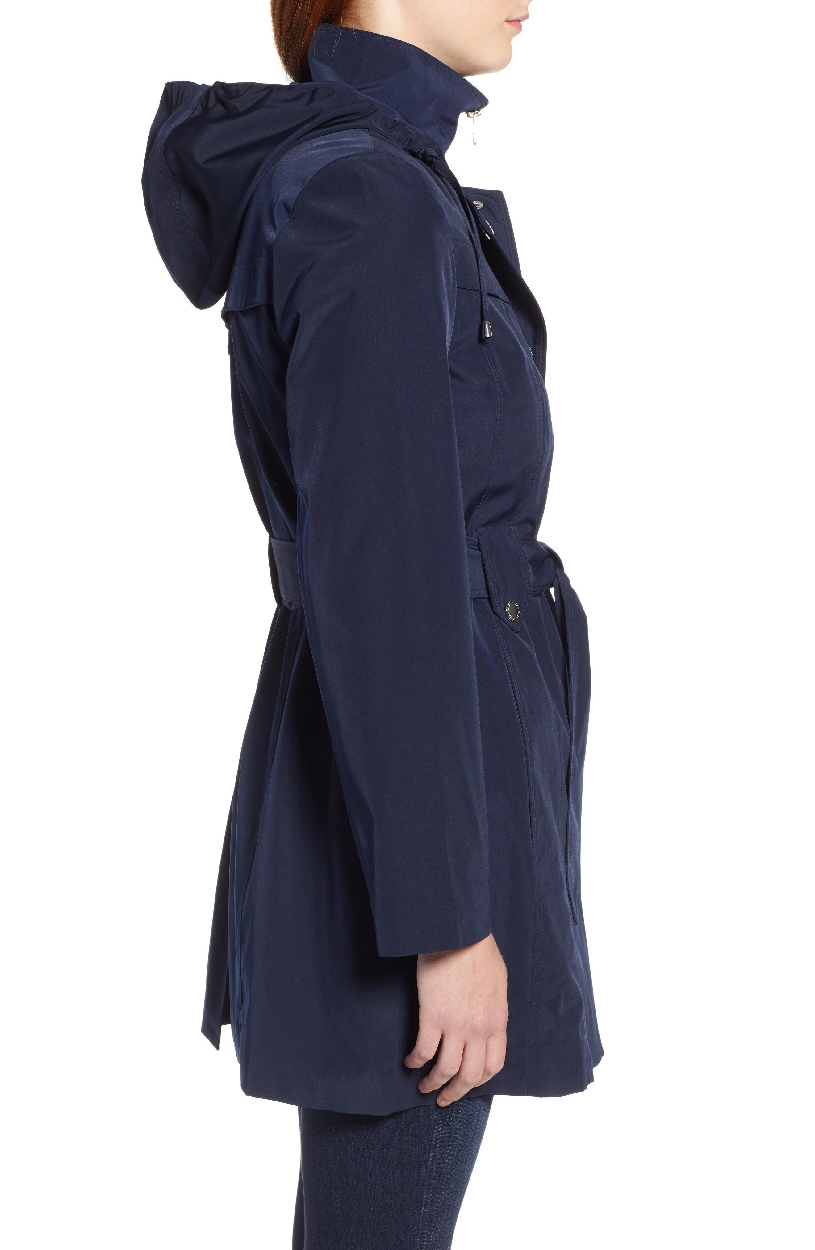LONDON FOG, Hooded Trench Coat, Alternate thumbnail 4, color, NAVY