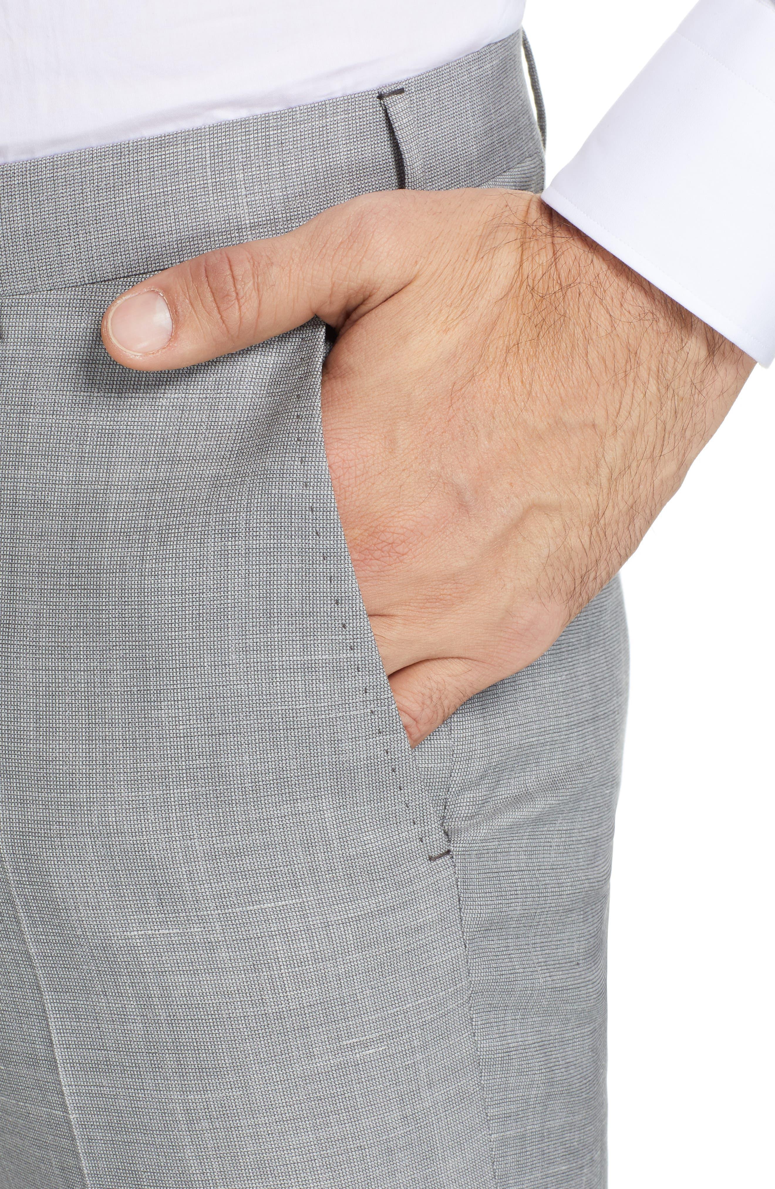 ERMENEGILDO ZEGNA, Trofeo Flat Front Solid Wool Blend Trousers, Alternate thumbnail 4, color, LIGHT GREY