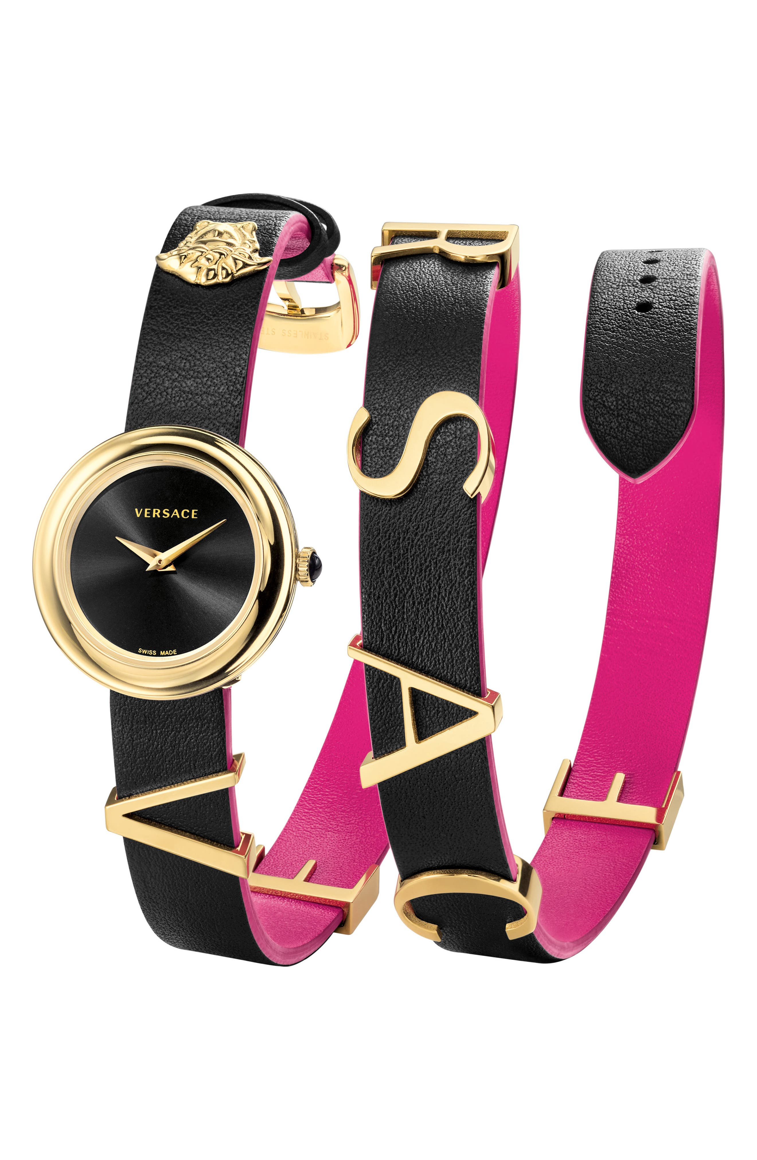 VERSACE, V-Flare Double Wrap Leather Strap Watch, 28mm, Main thumbnail 1, color, BLACK/ SILVER/ GOLD
