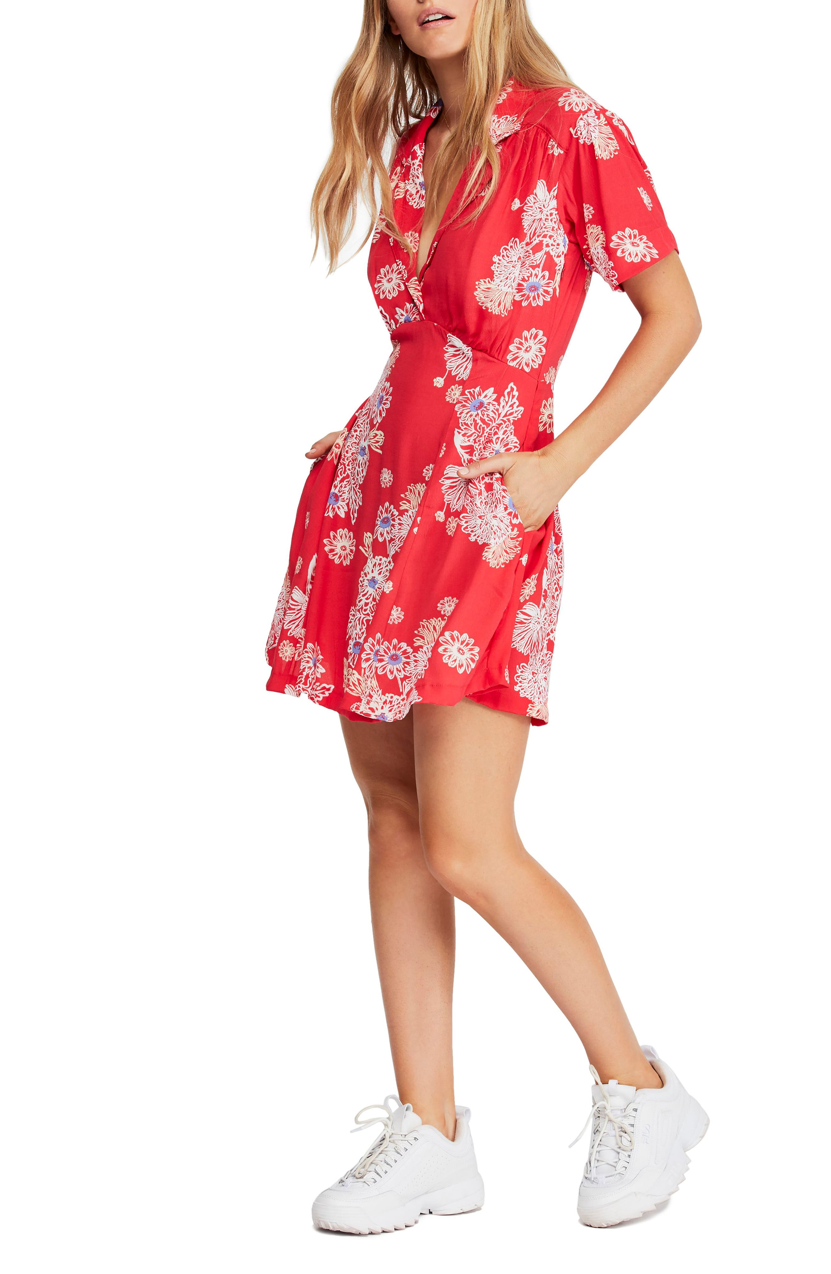 FREE PEOPLE Blue Hawaii Minidress, Main, color, RED COMBO