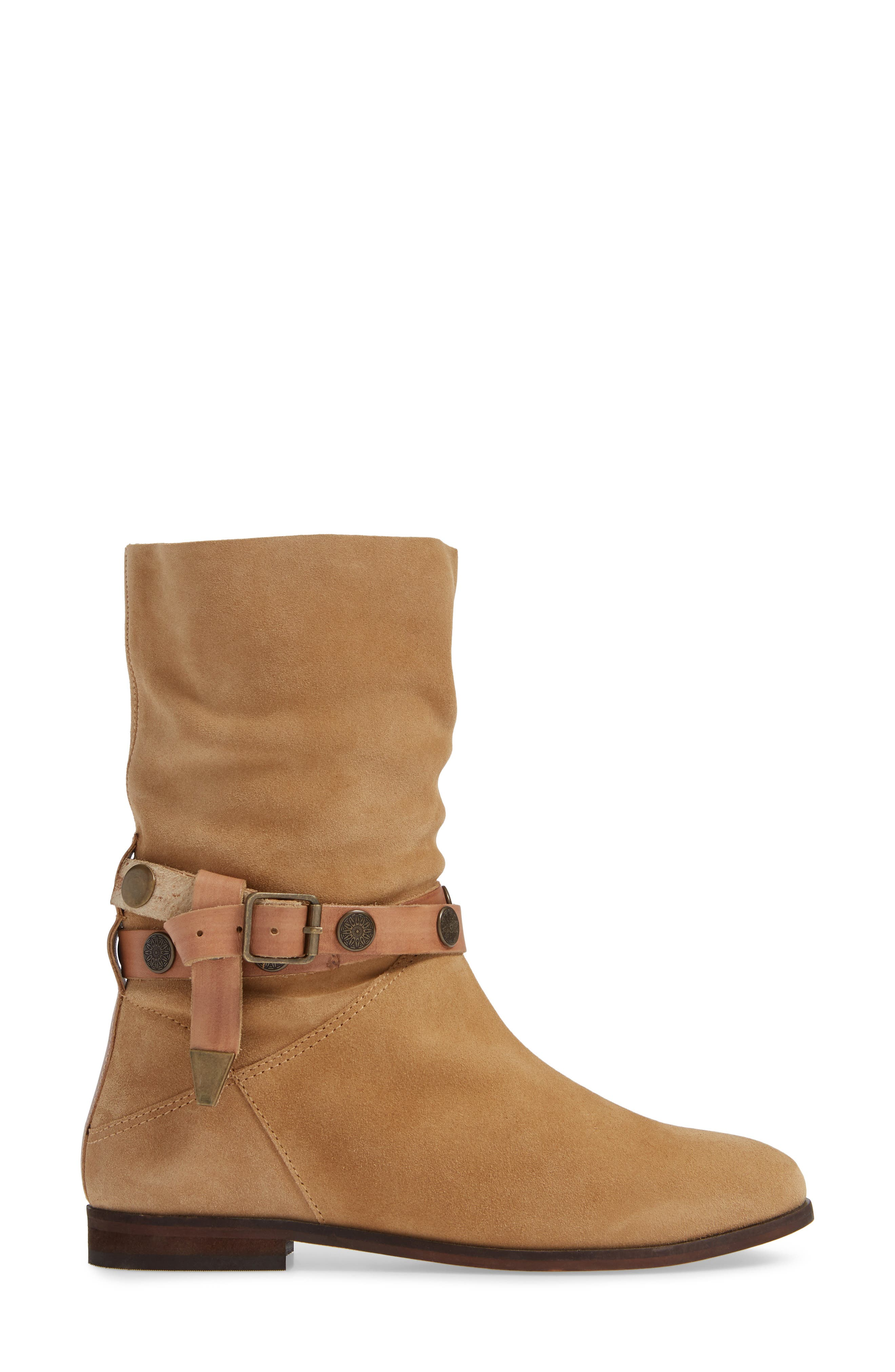 FREE PEOPLE, Hayden Buckle Strap Boot, Alternate thumbnail 3, color, SAND SUEDE