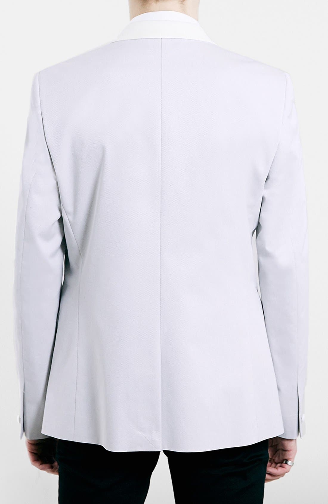 TOPMAN, Slim Fit Off White Tuxedo Jacket, Alternate thumbnail 5, color, 900