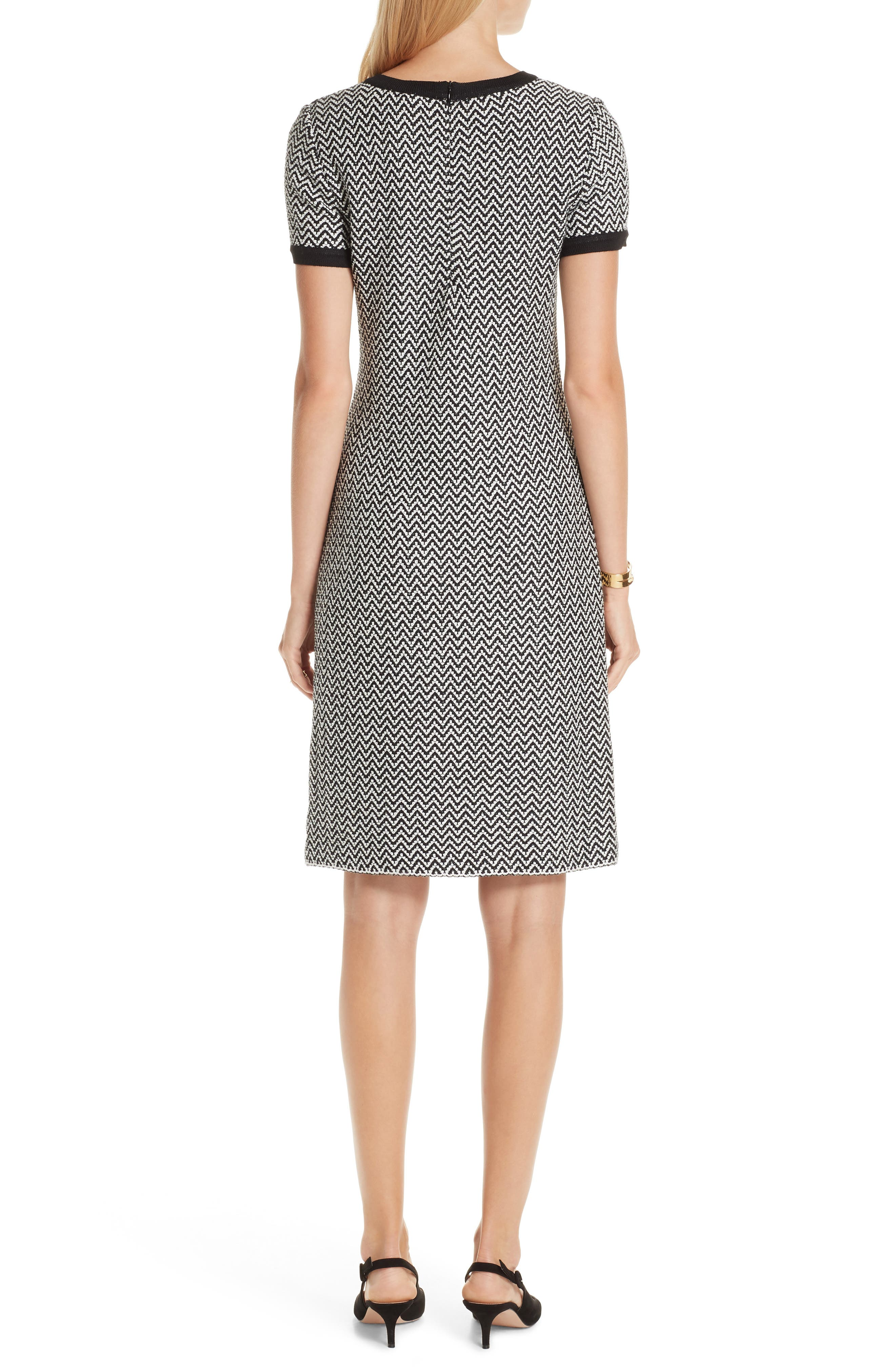 ST. JOHN COLLECTION, Mod Herringbone Knit Dress, Alternate thumbnail 2, color, CAVIAR/ CREAM