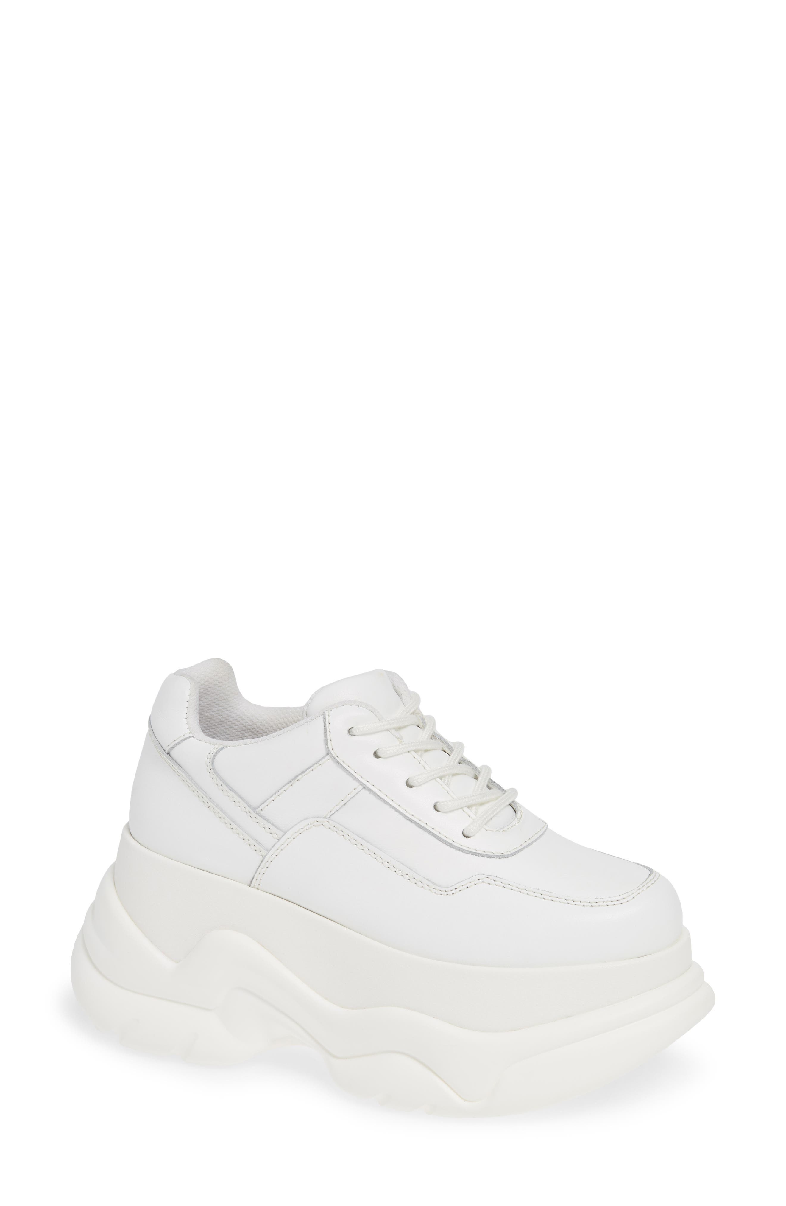 JEFFREY CAMPBELL Most Def Wedge Sneaker, Main, color, WHITE/ WHITE LEATHER