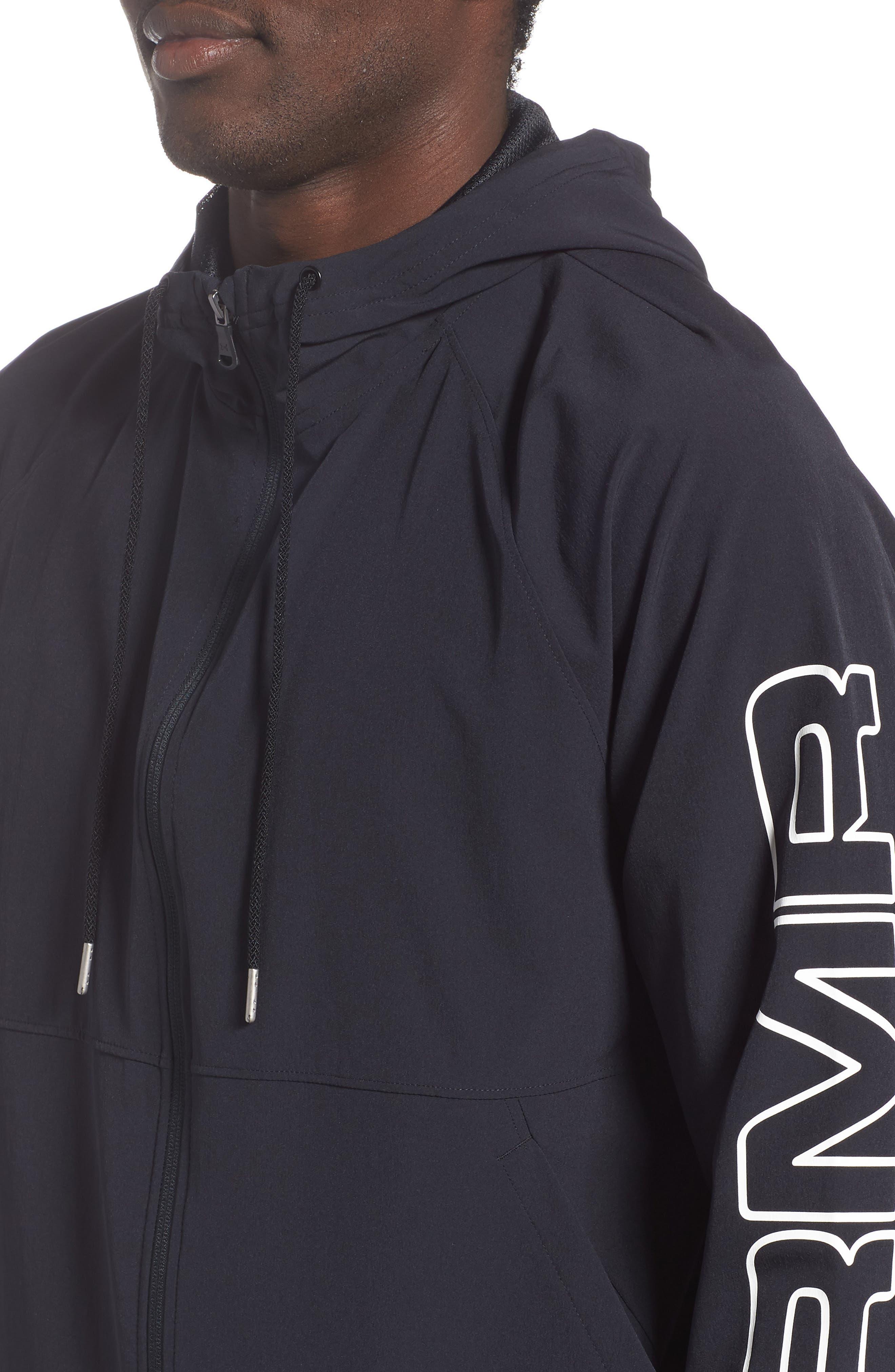 UNDER ARMOUR, Baseline Hooded Jacket, Alternate thumbnail 5, color, 001