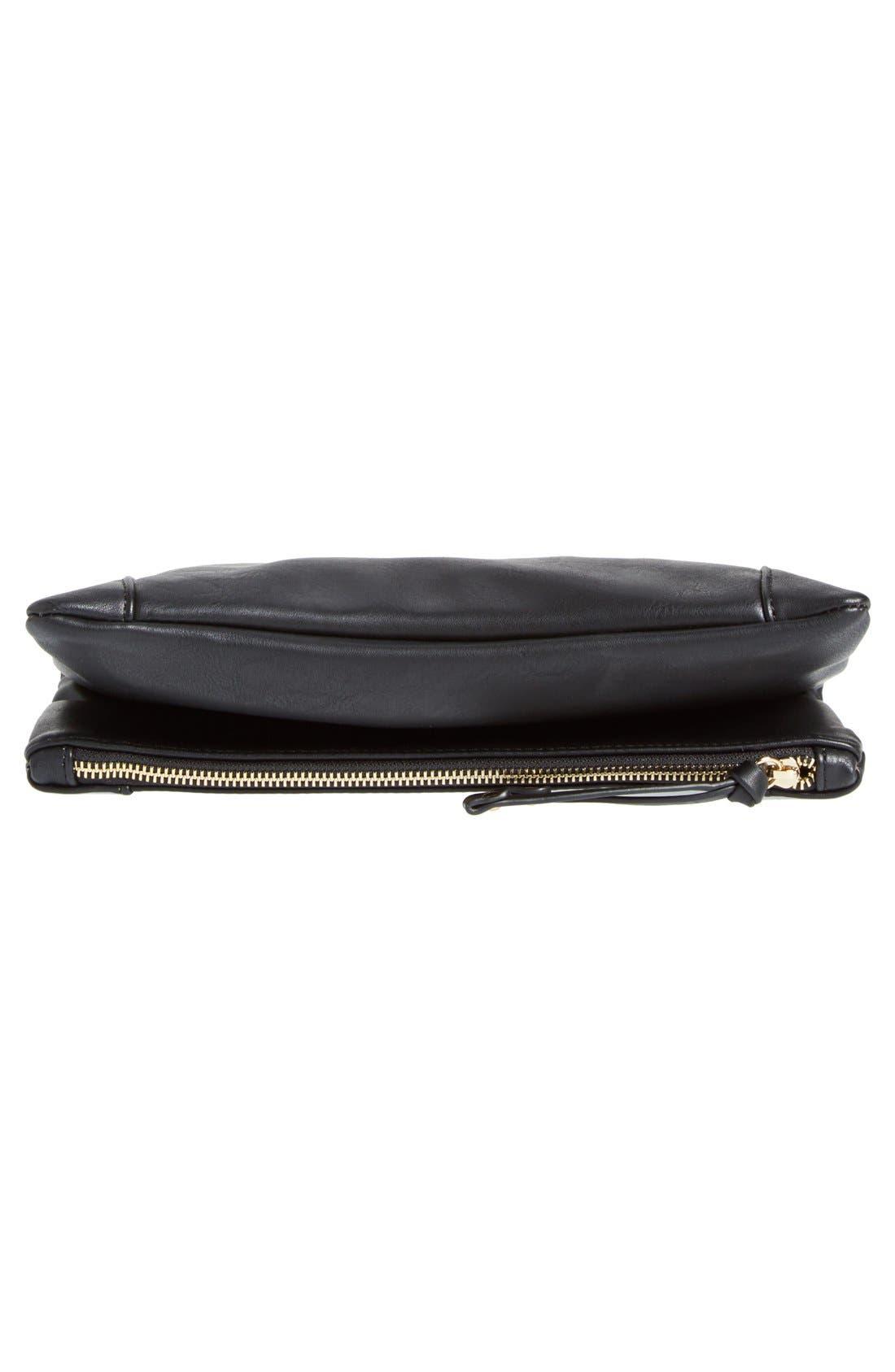 SOLE SOCIETY, Marlena Faux Leather Foldover Clutch, Alternate thumbnail 7, color, JET BLACK