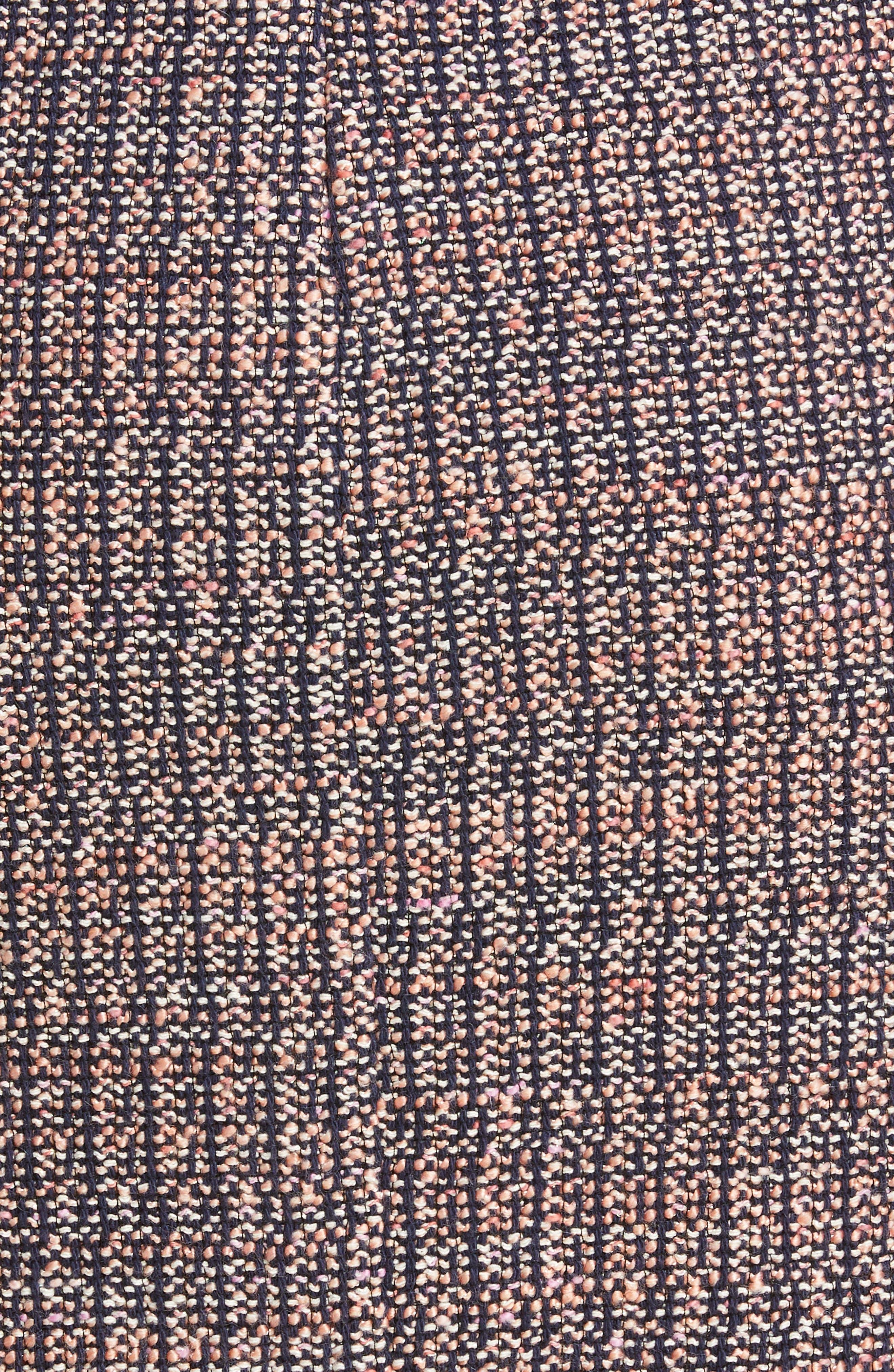 REBECCA TAYLOR, Frayed Ruffle Tweed Dress, Alternate thumbnail 6, color, PINK/ NAVY COMBO