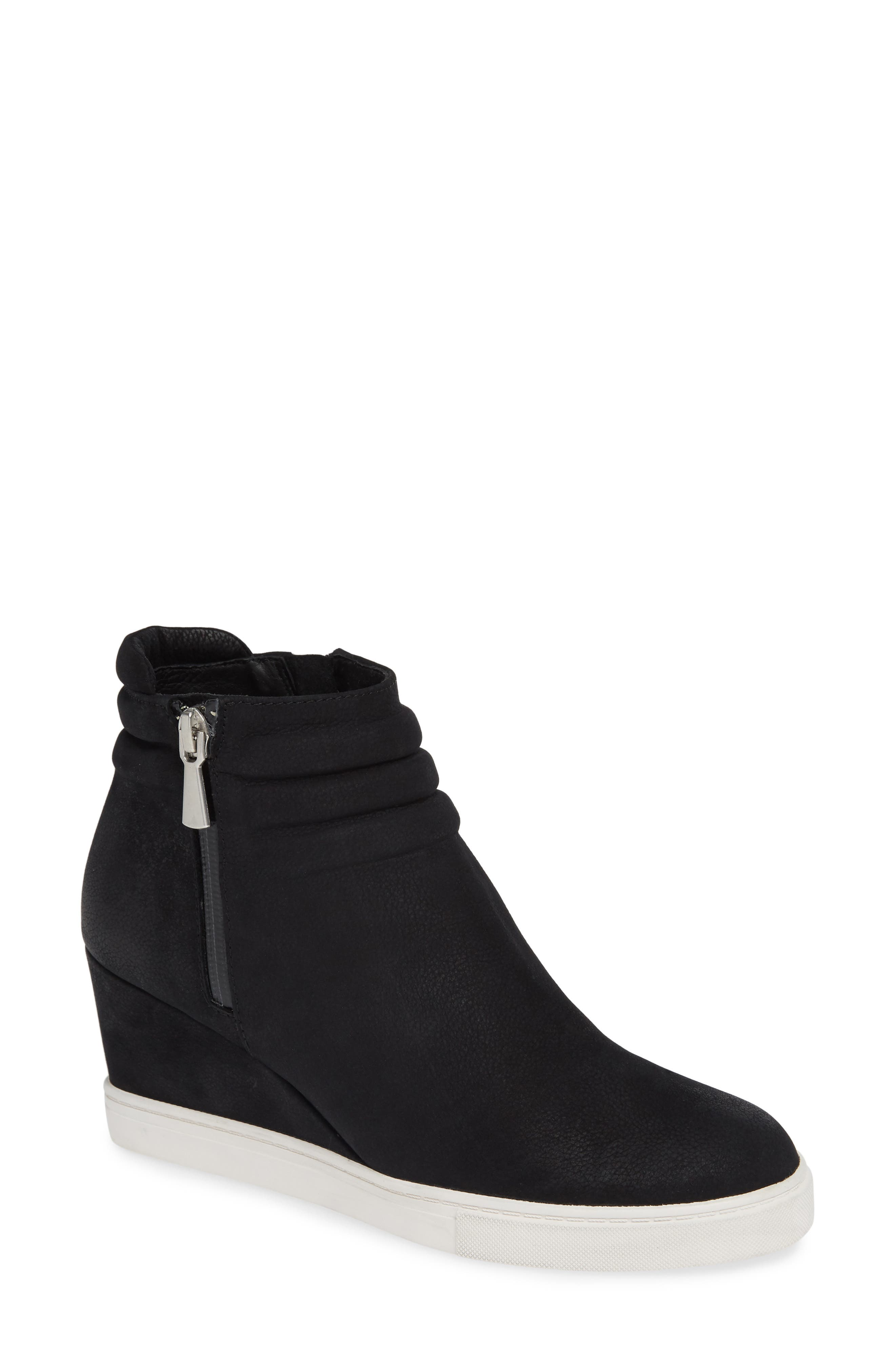 LINEA PAOLO, Flo Waterproof Wedge Bootie, Main thumbnail 1, color, BLACK LEATHER
