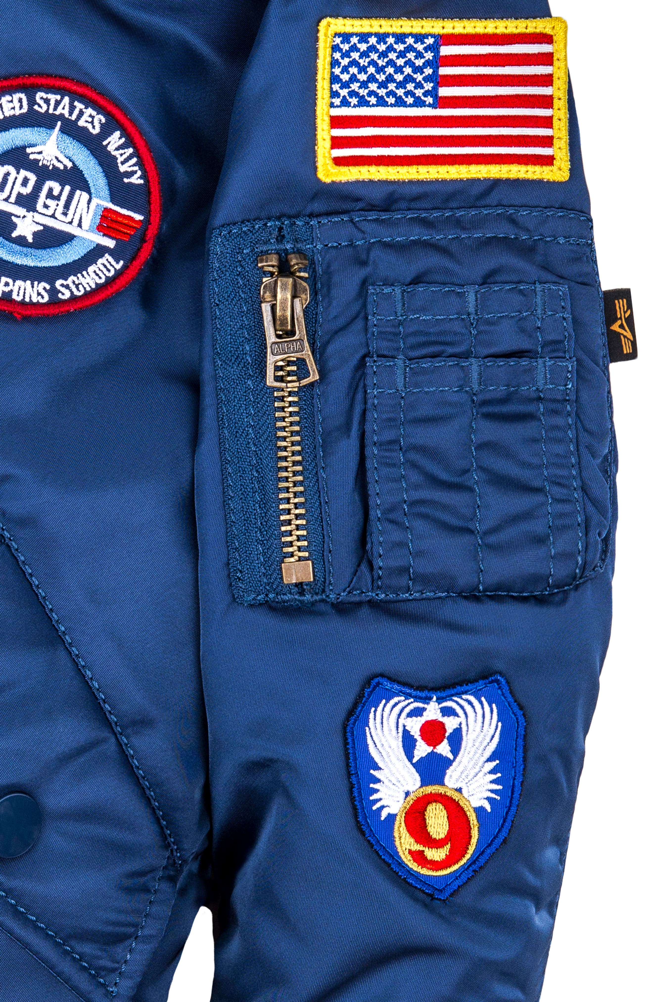 ALPHA INDUSTRIES, MA-1 Patch Flight Jacket, Alternate thumbnail 4, color, BLUE NO 9