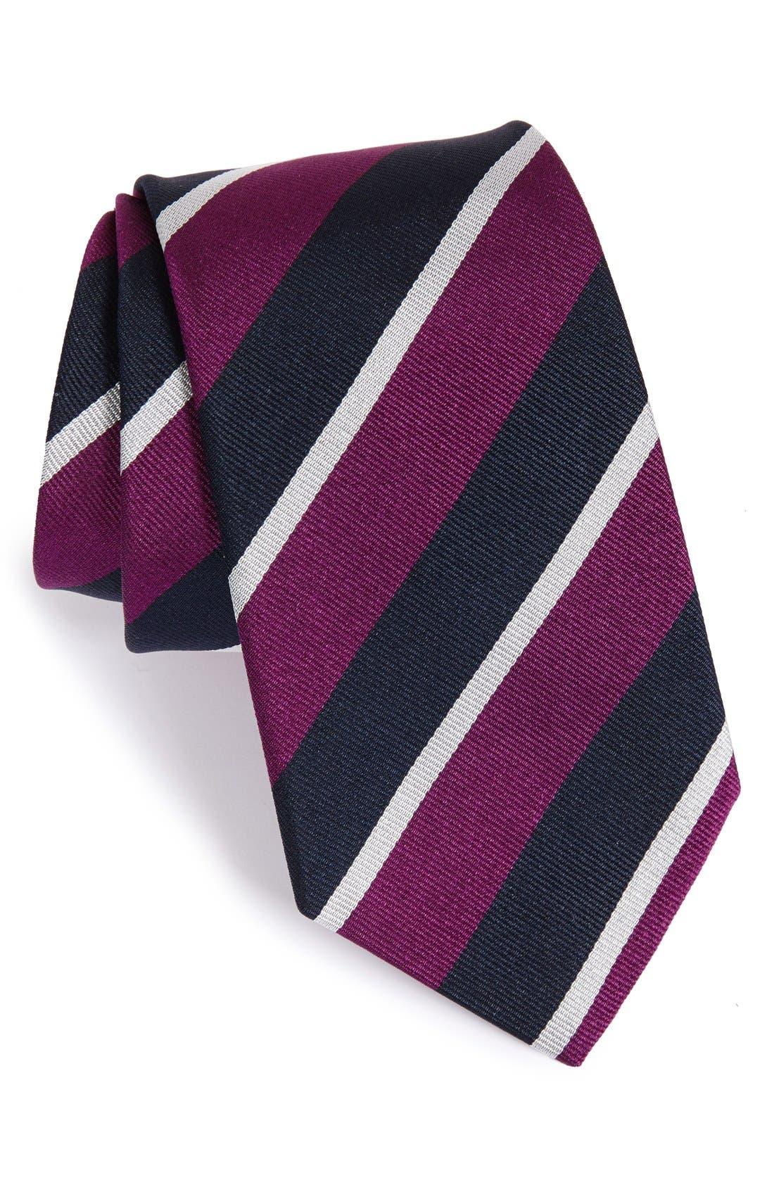 GITMAN, Stripe Silk Tie, Main thumbnail 1, color, PURPLE