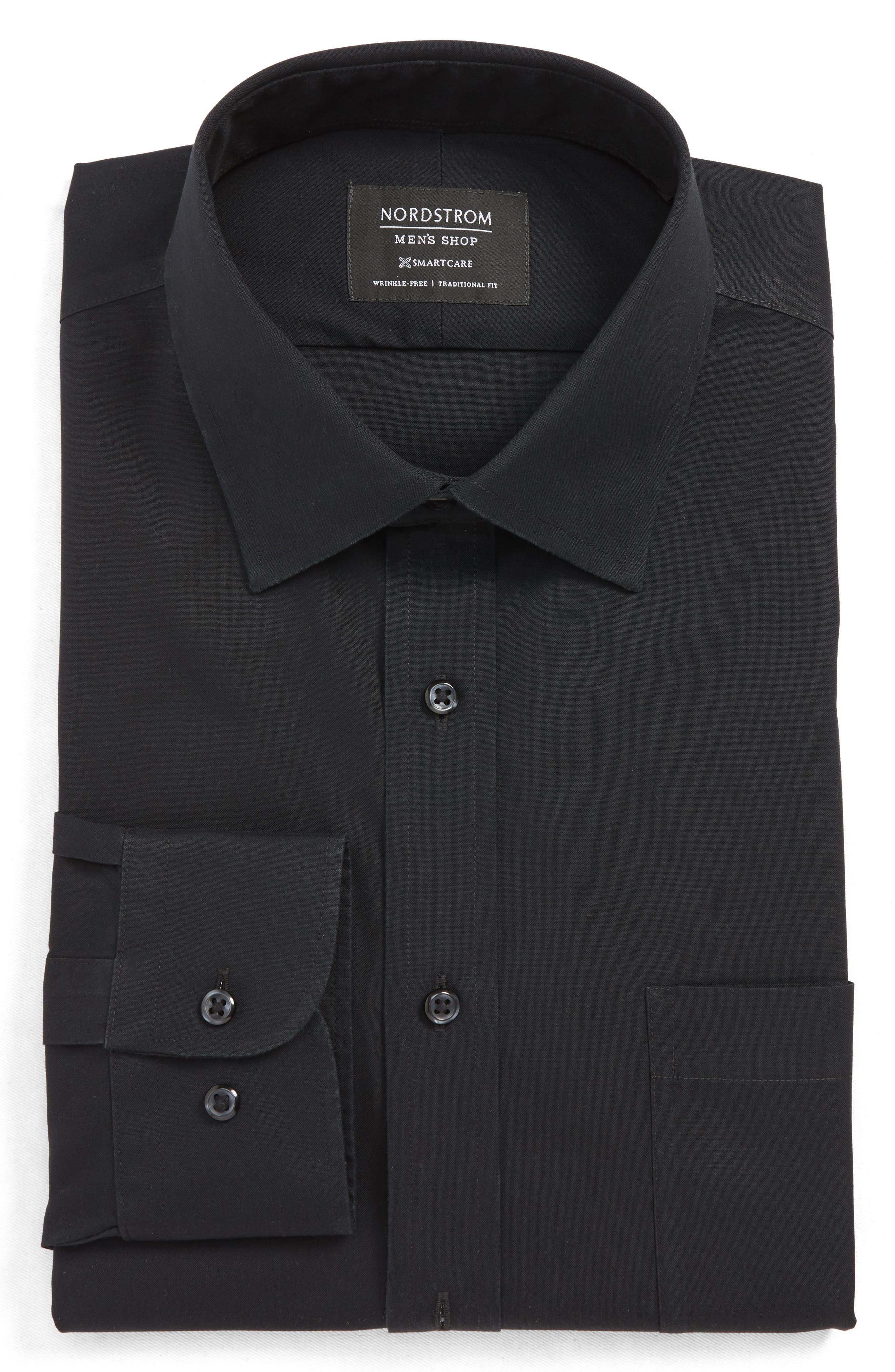 NORDSTROM MEN'S SHOP, Smartcare<sup>™</sup> Traditional Fit Dress Shirt, Main thumbnail 1, color, BLACK