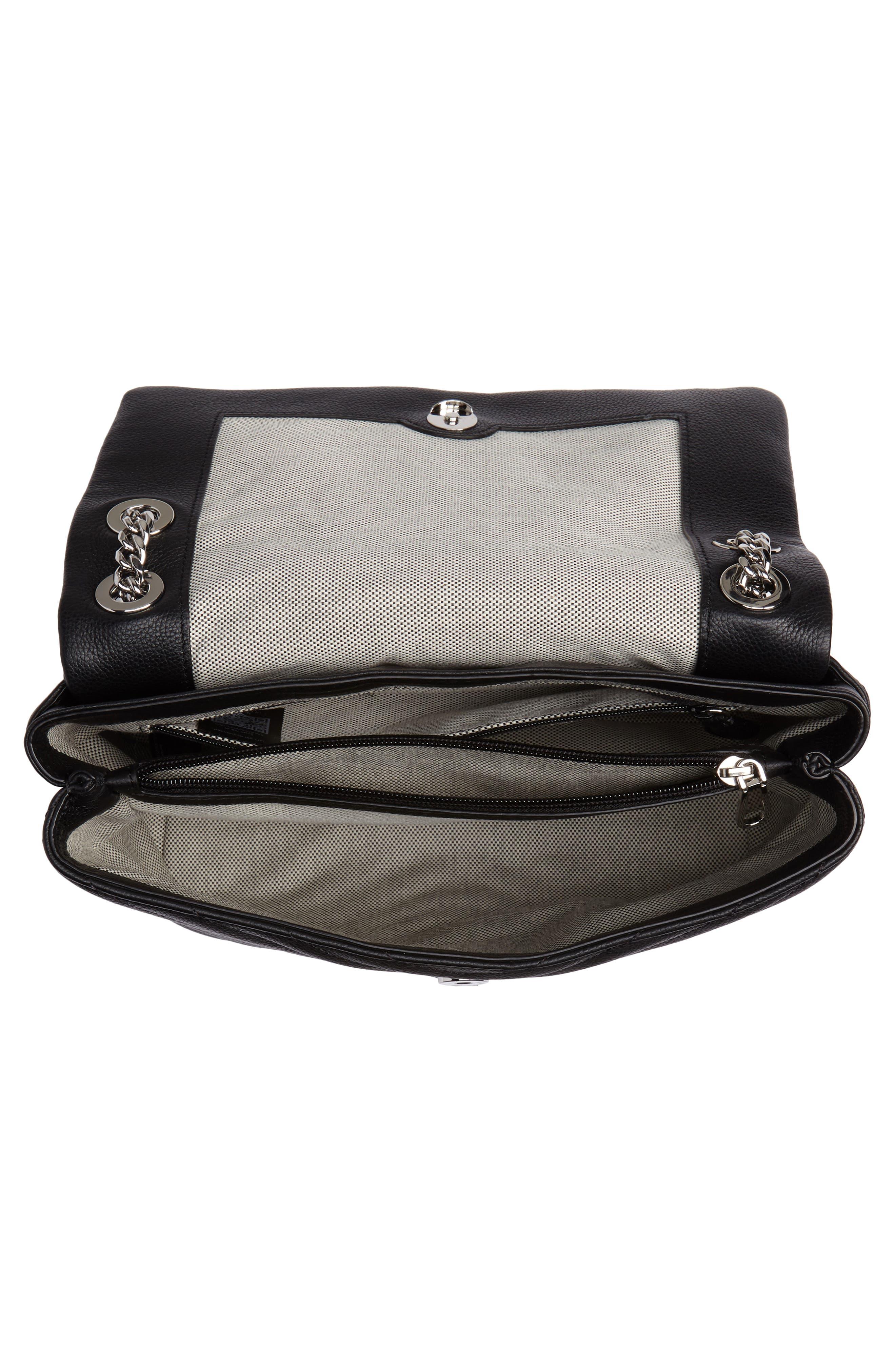 REBECCA MINKOFF, Edie Flap Quilted Leather Shoulder Bag, Alternate thumbnail 5, color, BLACK