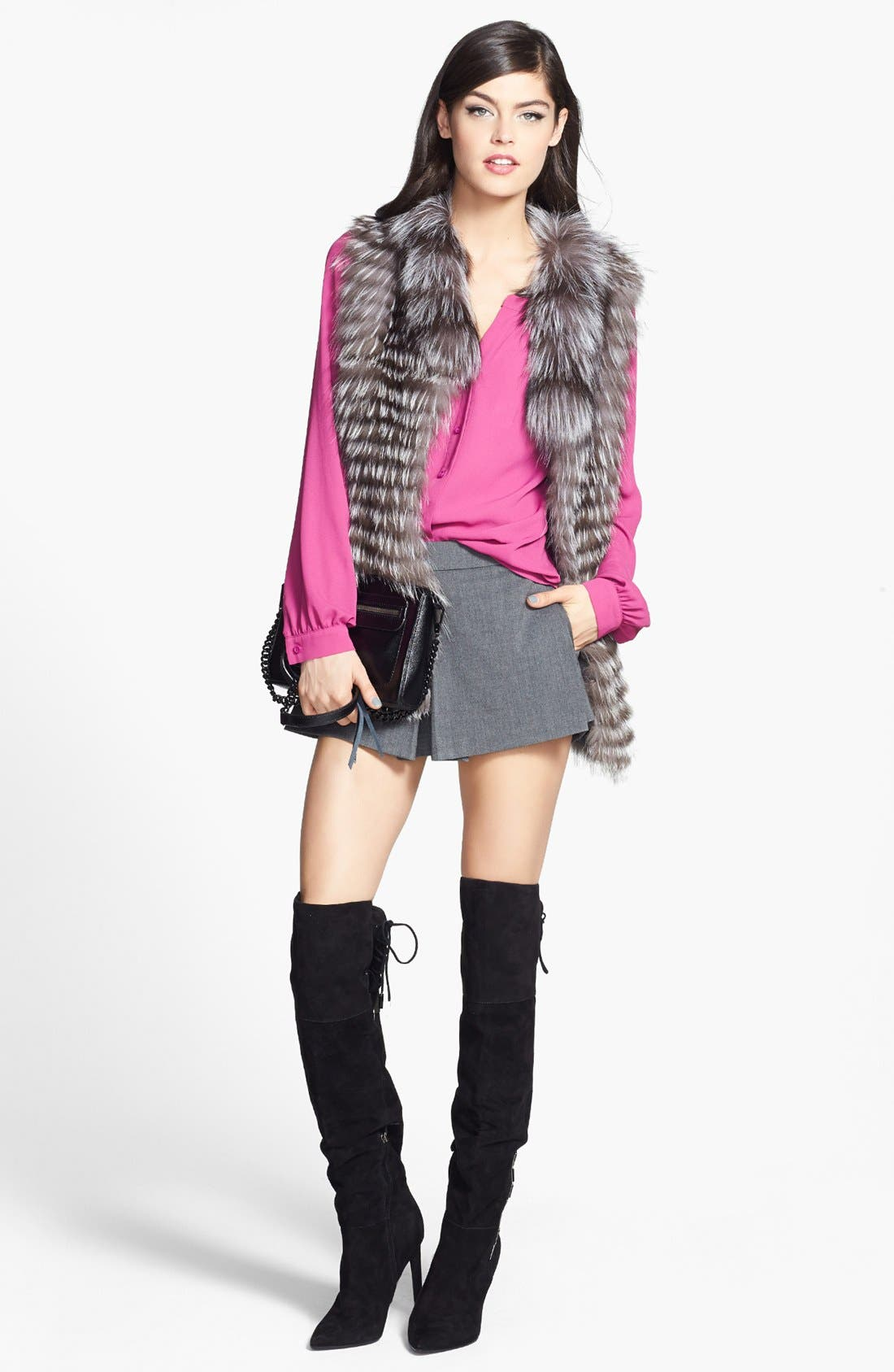 DOLCE VITA, 'Inara' Over the Knee Pointy Toe Suede Boot, Alternate thumbnail 6, color, 001
