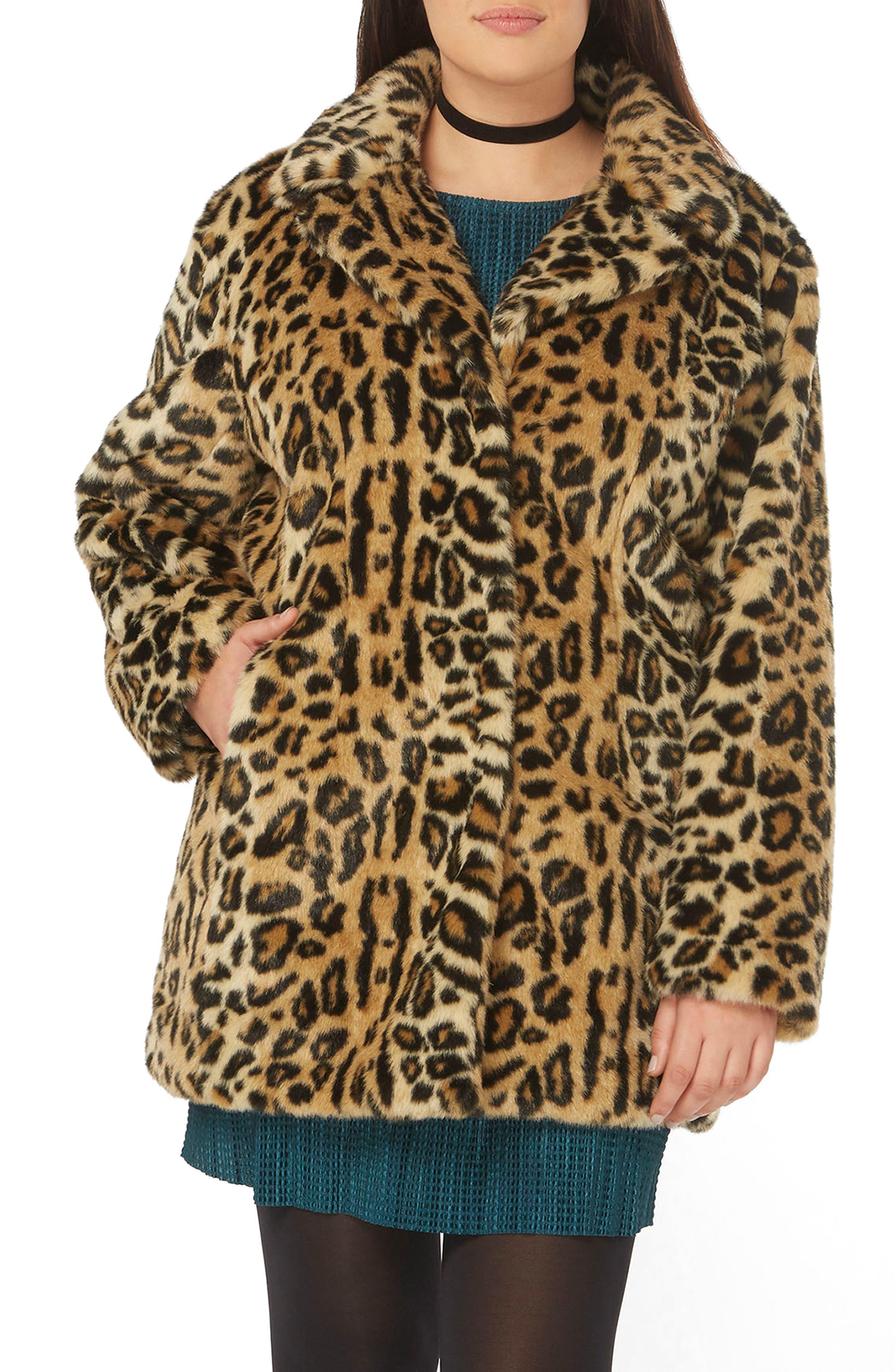 EVANS, Leopard Print Faux Fur Coat, Main thumbnail 1, color, 200