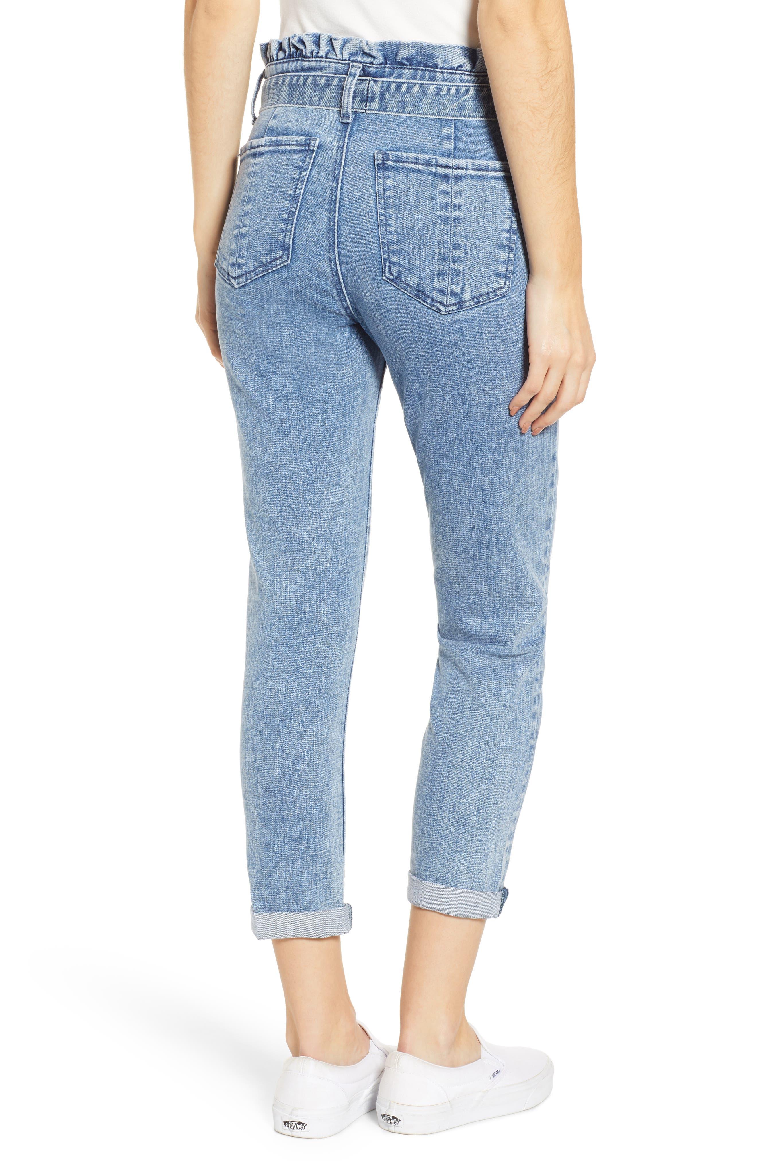 PROSPERITY DENIM, Paperbag Waist Crop Skinny Jeans, Alternate thumbnail 2, color, MEDIUM LIGHT WASH
