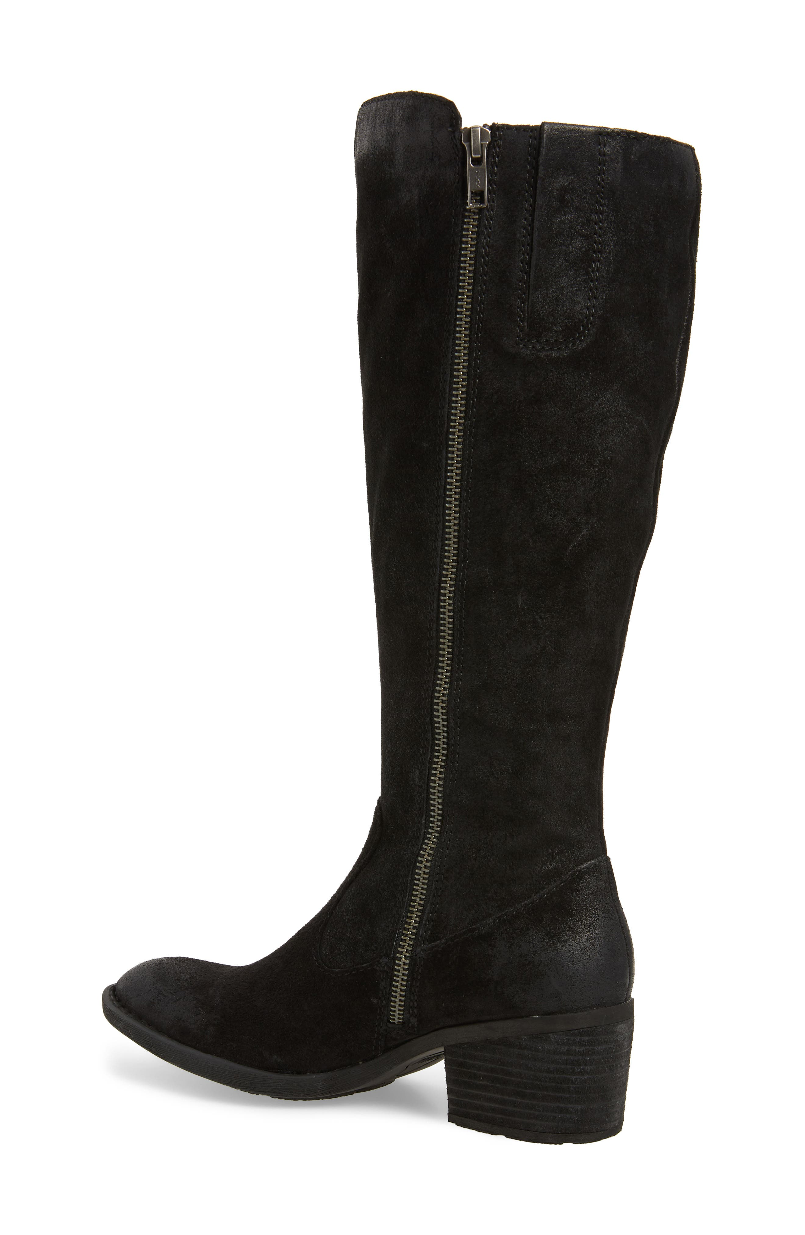 BØRN, Basil Knee High Boot, Alternate thumbnail 2, color, BLACK DISTRESSED LEATHER