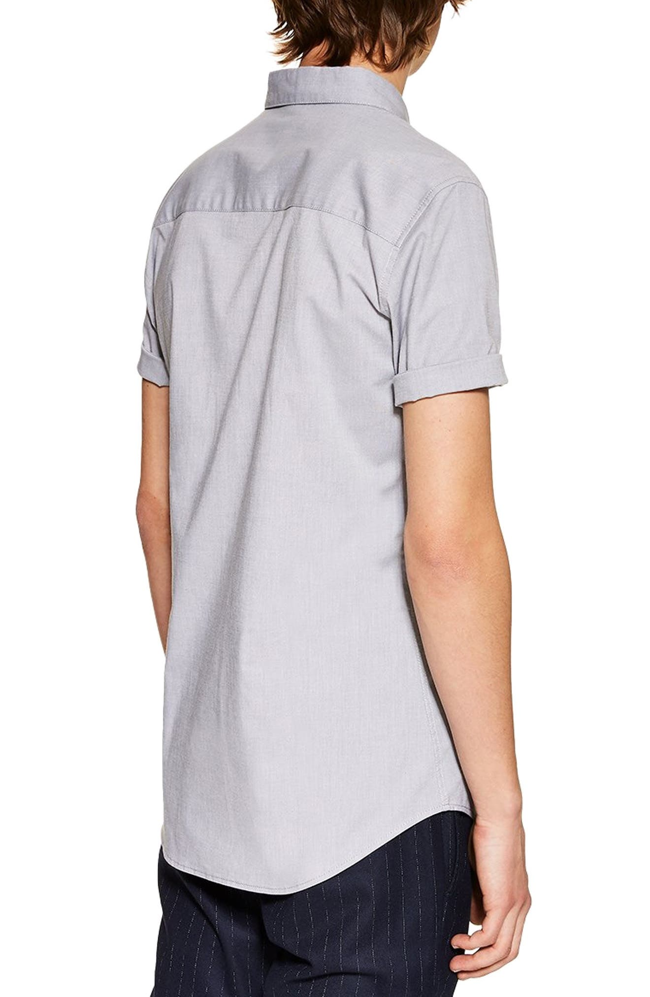 TOPMAN, Muscle Fit Oxford Shirt, Alternate thumbnail 3, color, GREY