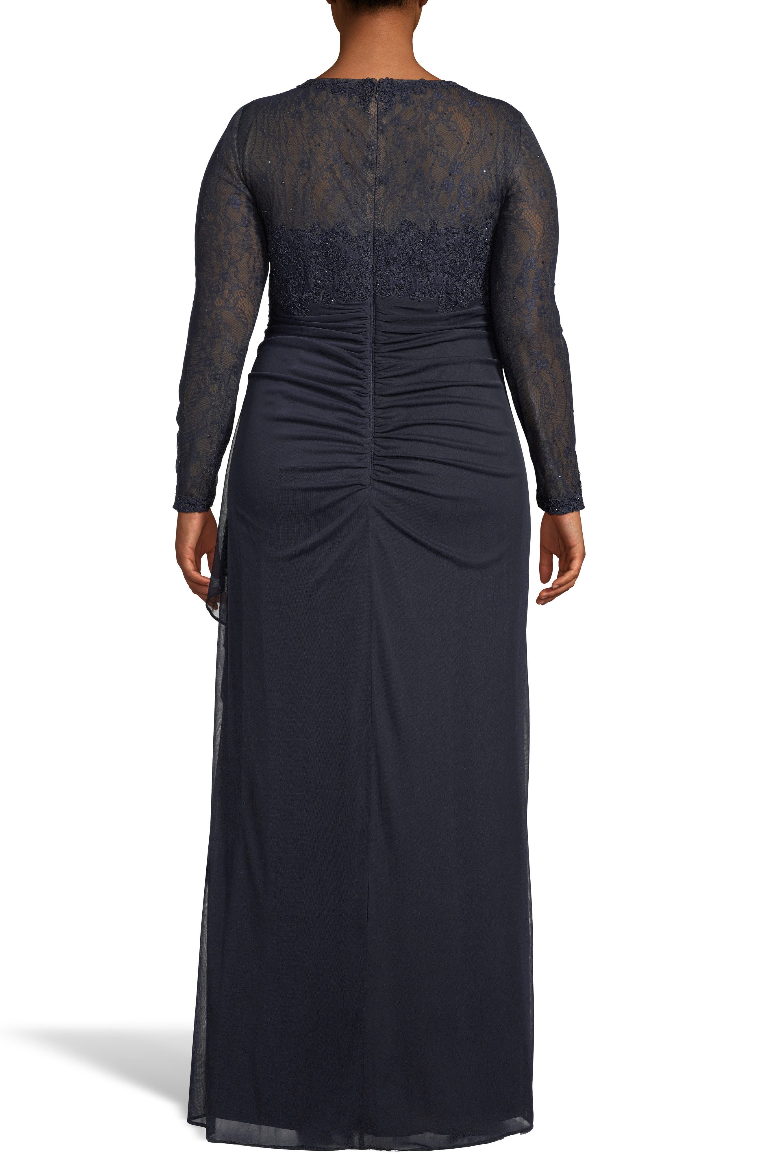 XSCAPE, Lace Bodice Ruched Evening Dress, Alternate thumbnail 2, color, NAVY