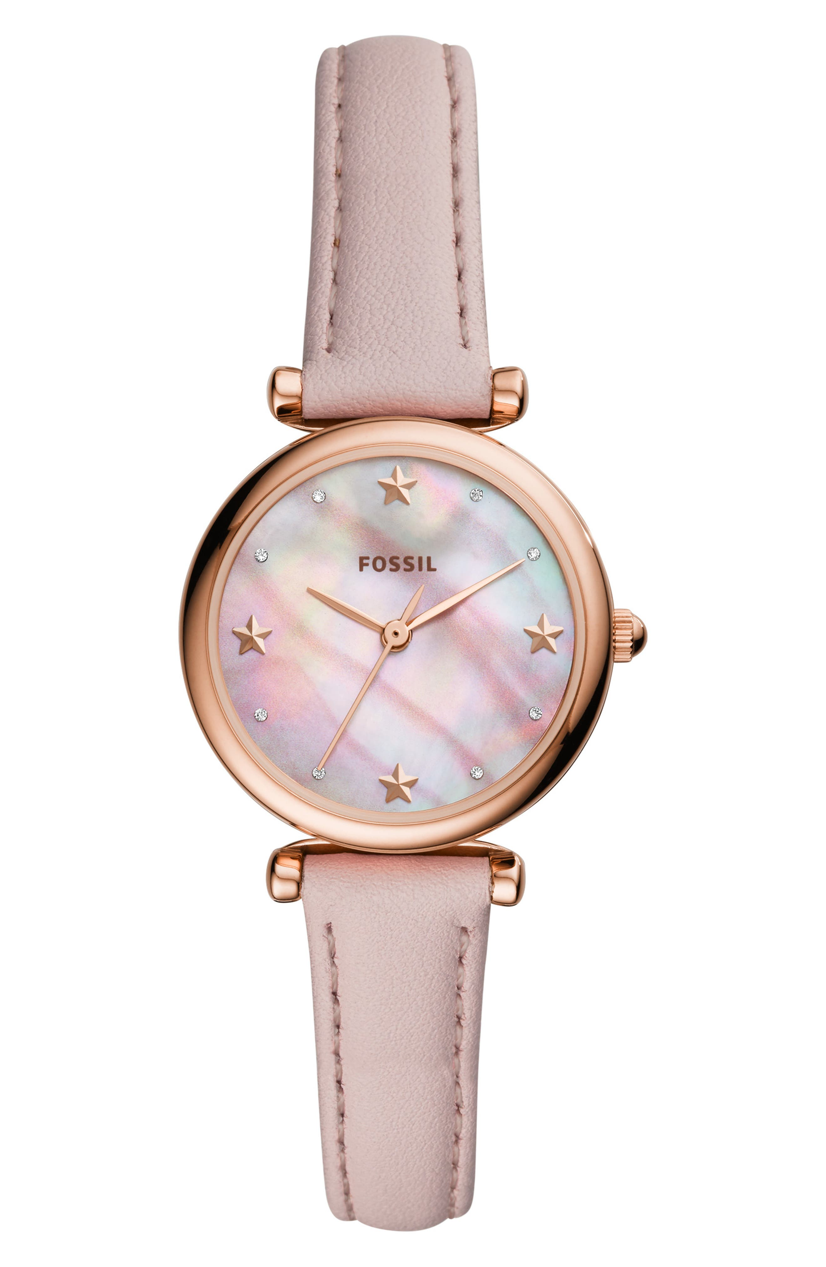FOSSIL Mini Carlie Star Leather Strap Watch, 28mm, Main, color, 650