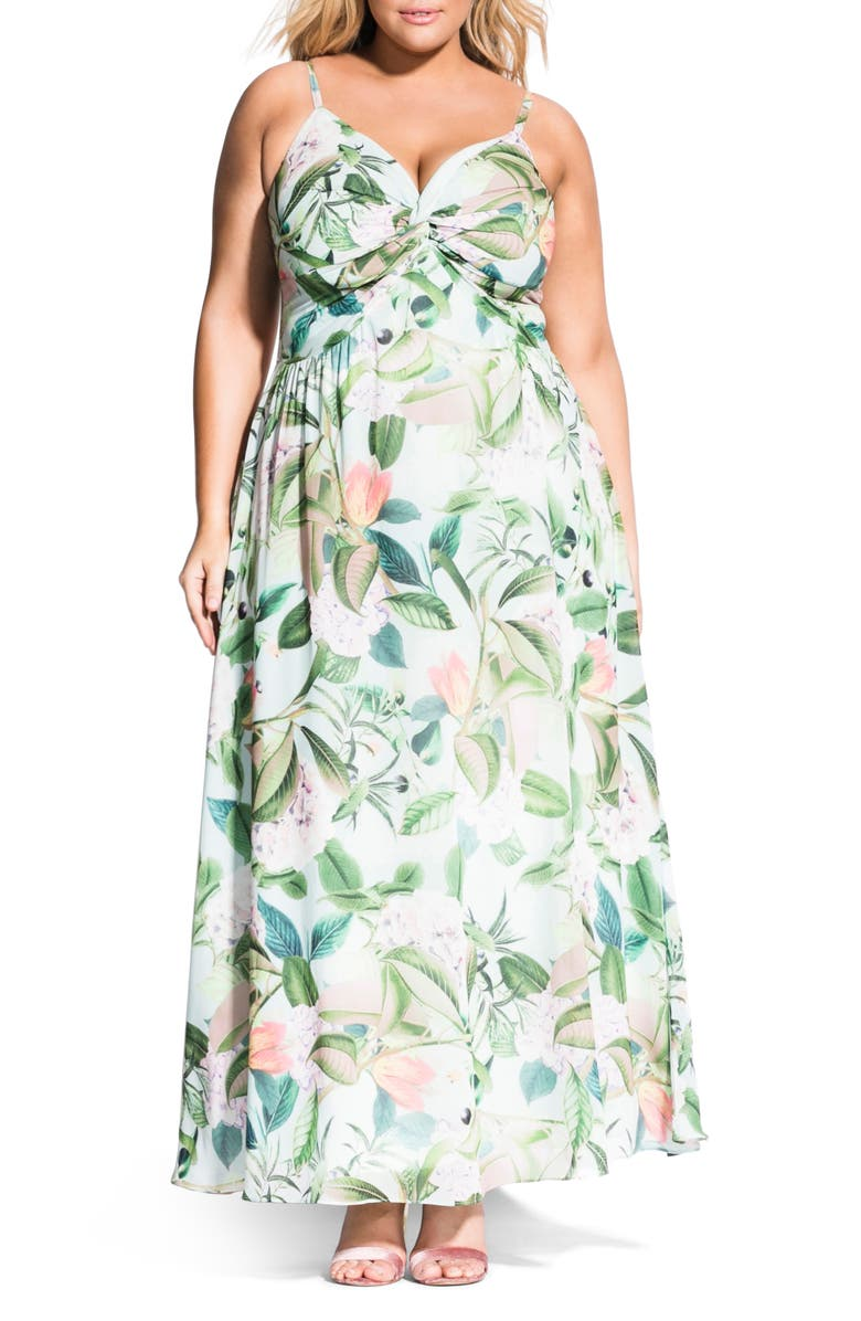 City Chic Dresses TWIST FRESH FLORAL MAXI DRESS