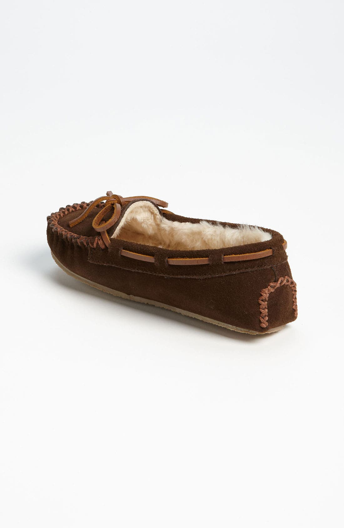 MINNETONKA, 'Cassie' Slipper, Alternate thumbnail 2, color, CHOCOLATE