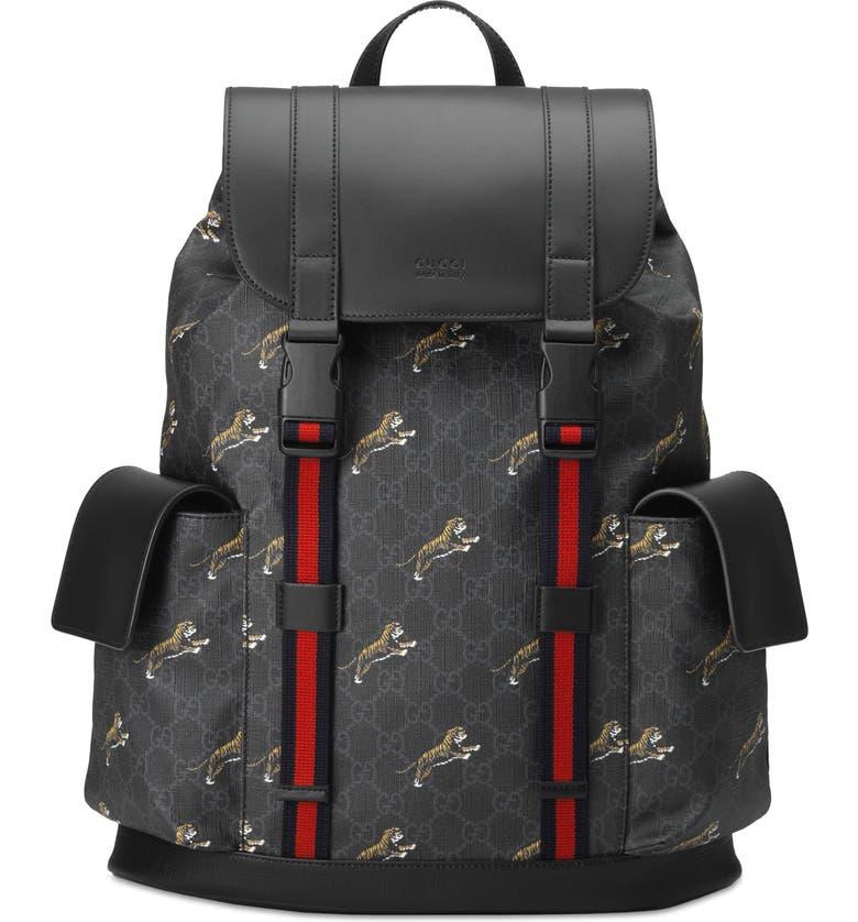 2d63e6dba27 Gucci GG Supreme Tigers Canvas Backpack