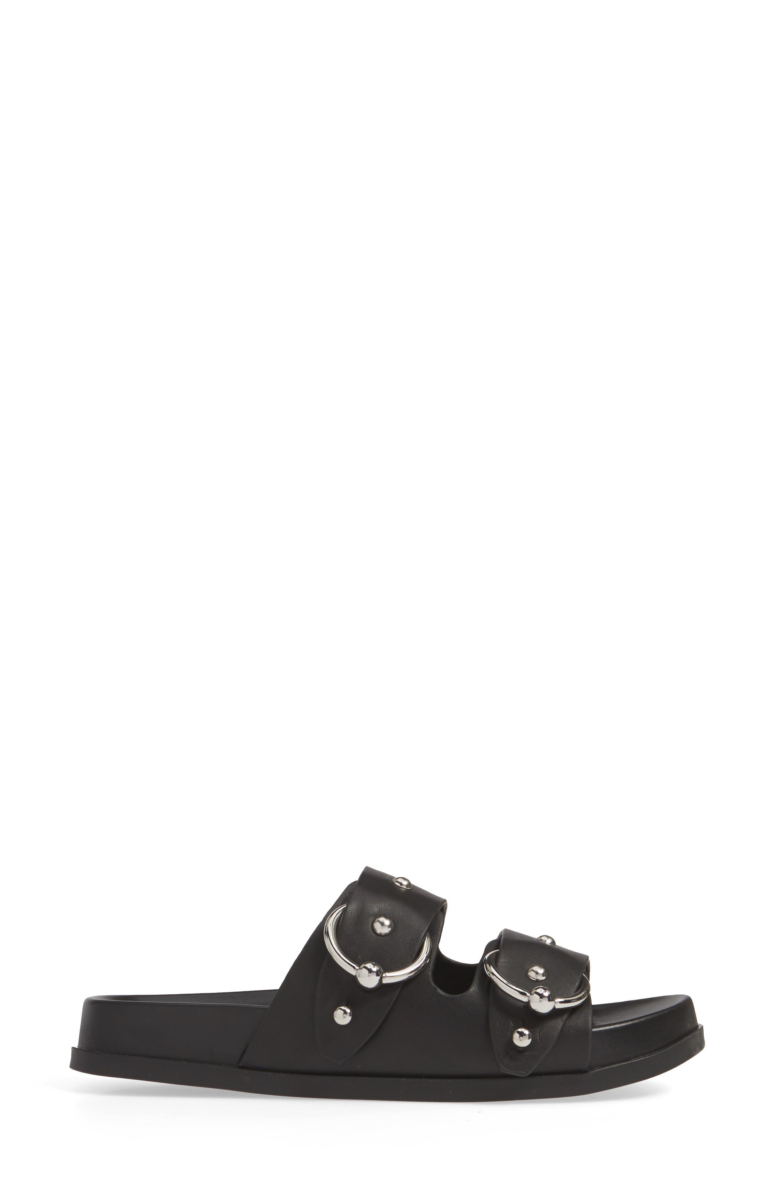 REBECCA MINKOFF, Vachel Slide Sandal, Alternate thumbnail 3, color, BLACK LEATHER