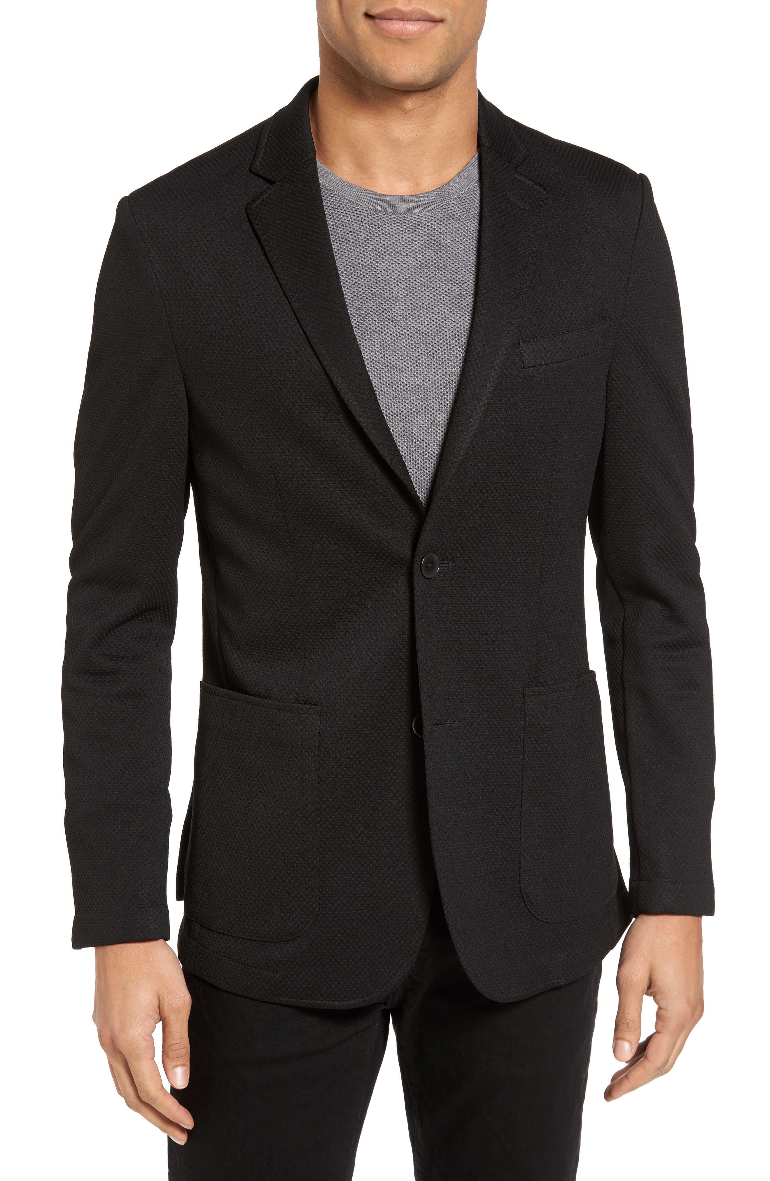 VINCE CAMUTO, Slim Fit Stretch Knit Sport Coat, Main thumbnail 1, color, BLACK