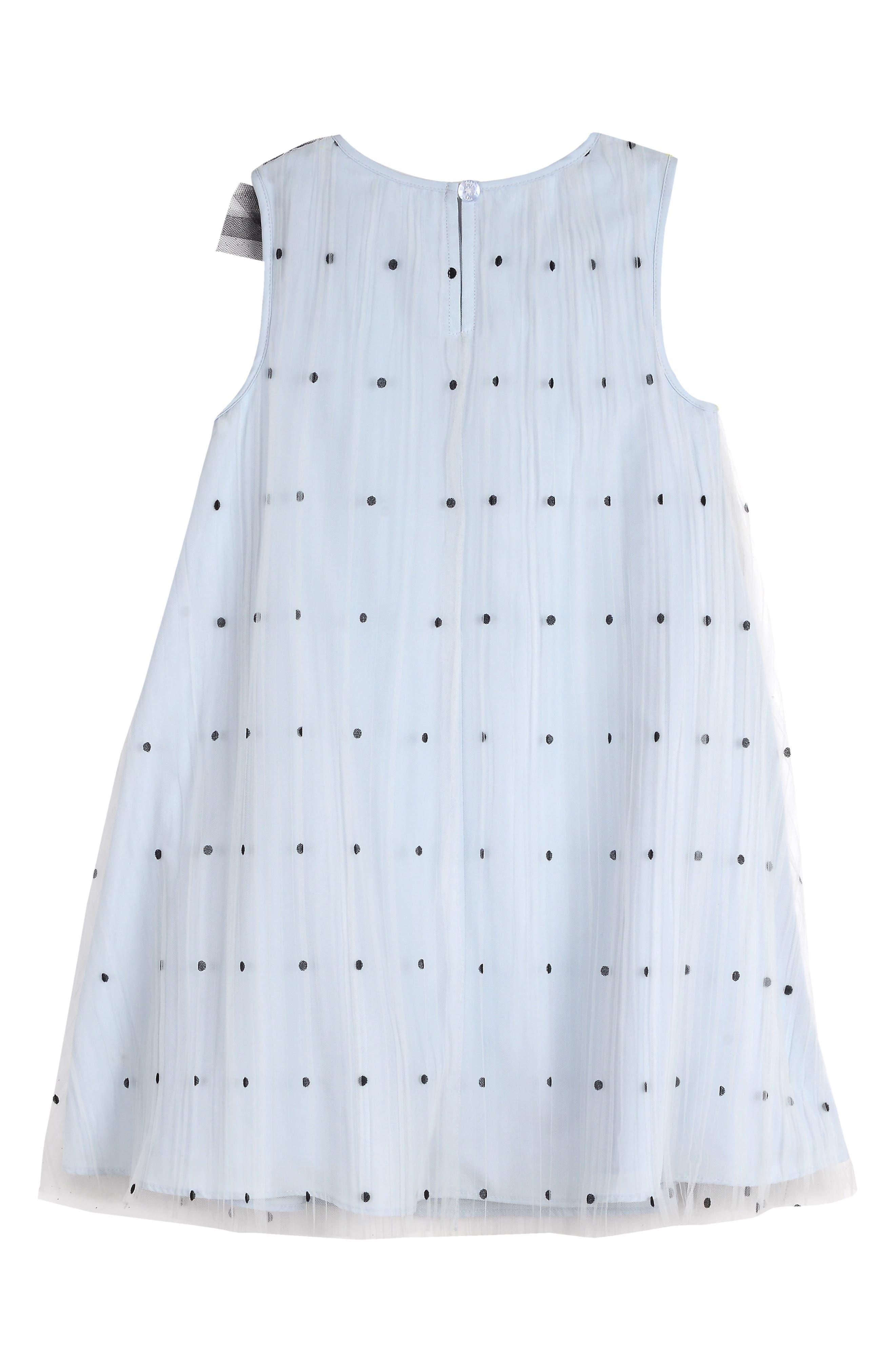 PIPPA & JULIE, Polka Dot Tulle Shift Dress, Alternate thumbnail 2, color, BLUE/ BLACK
