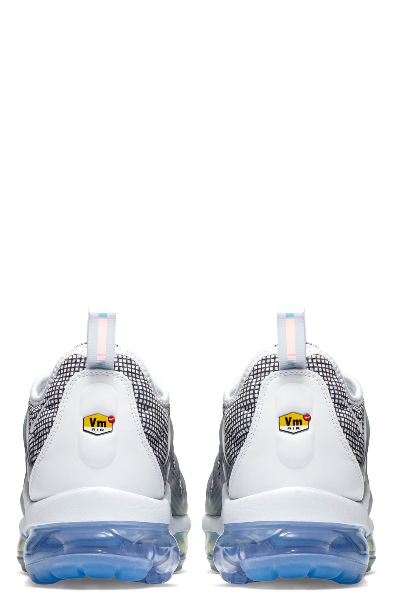 NIKE, Air VaporMax Plus Sneaker, Alternate thumbnail 2, color, WHITE/ BLACK/ ALUMINUM/ VOLT