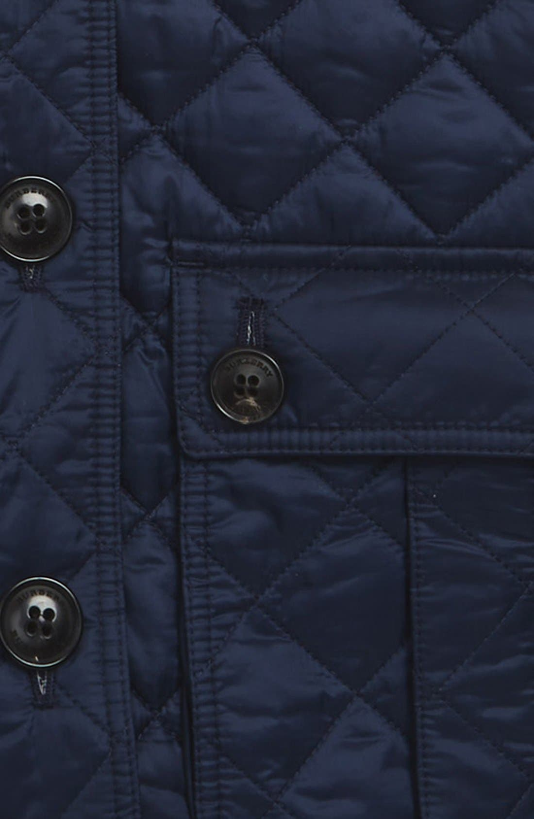 BURBERRY, 'Tiggsmoore' Diamond Quilted Jacket, Alternate thumbnail 2, color, 409