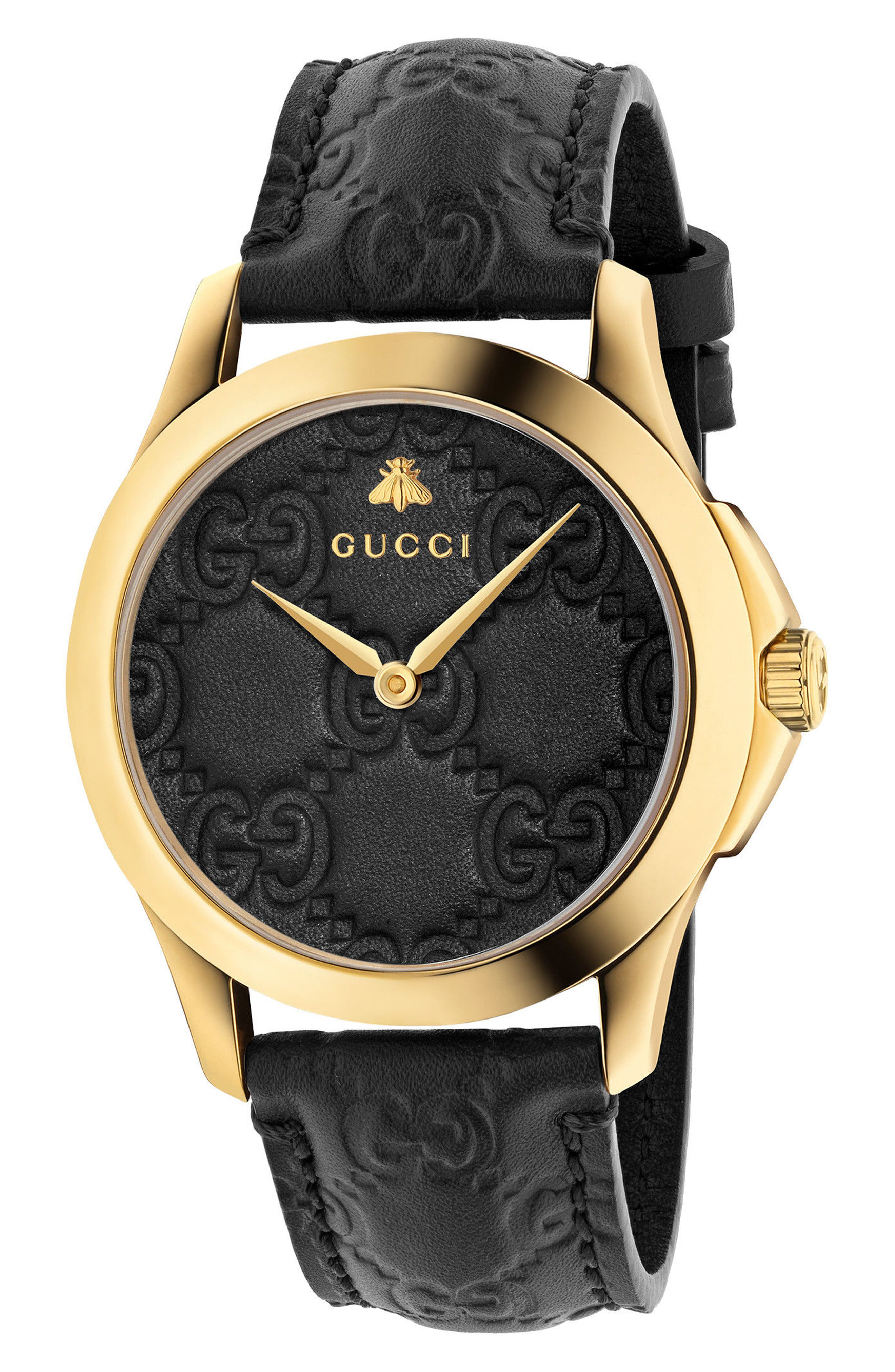 GUCCI, G-Timeless Leather Strap Watch, 38mm, Main thumbnail 1, color, BLACK/ GOLD