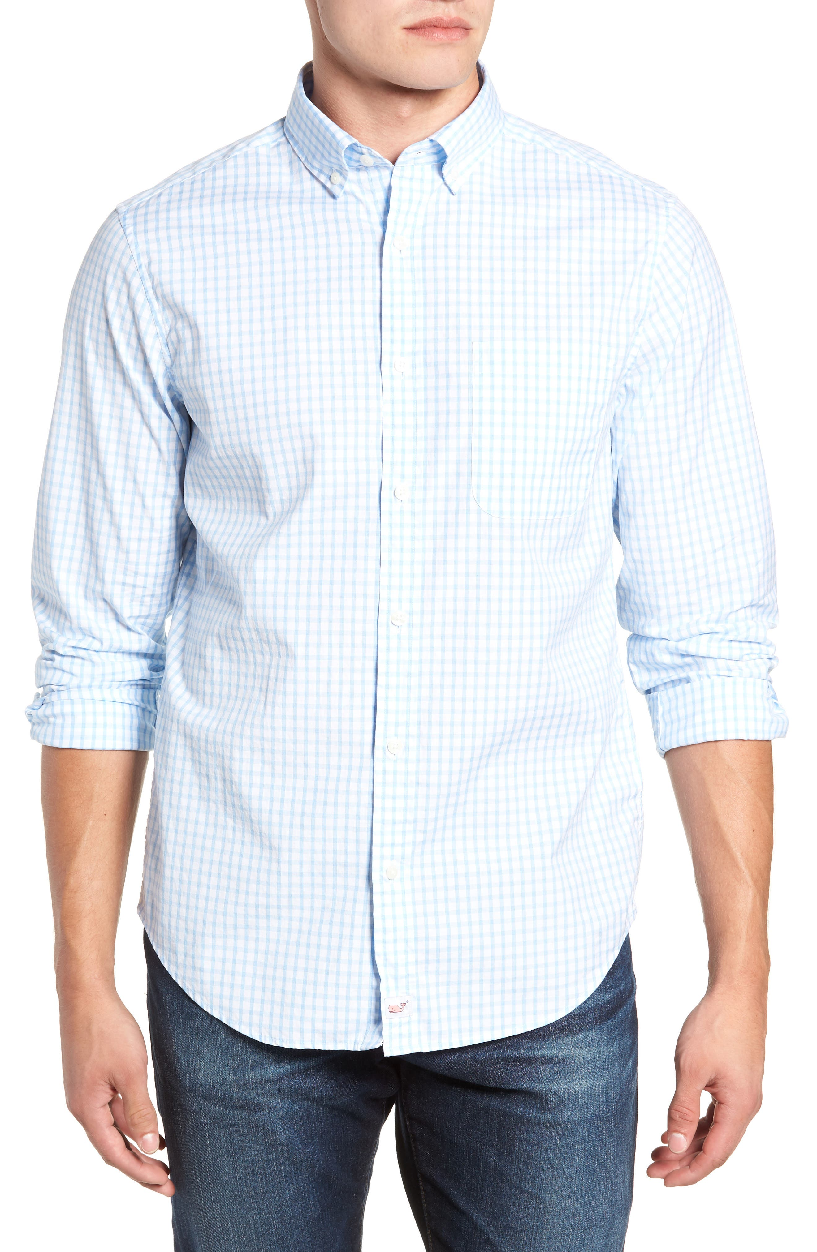 VINEYARD VINES Micro Graph Classic Fit Check Sport Shirt, Main, color, OCEAN BREEZE