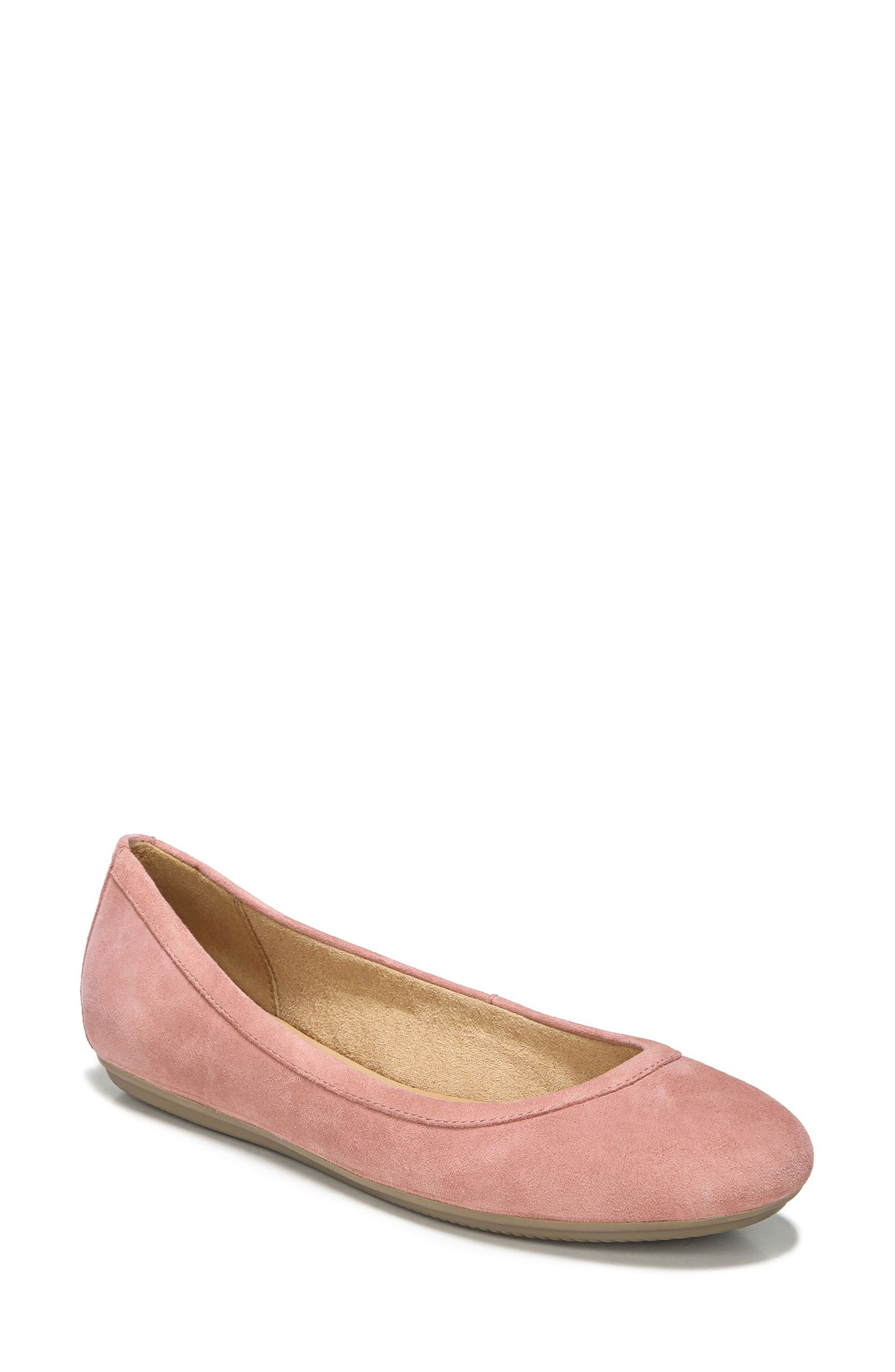 NATURALIZER, Brittany Ballet Flat, Main thumbnail 1, color, PEONY PINK SUEDE