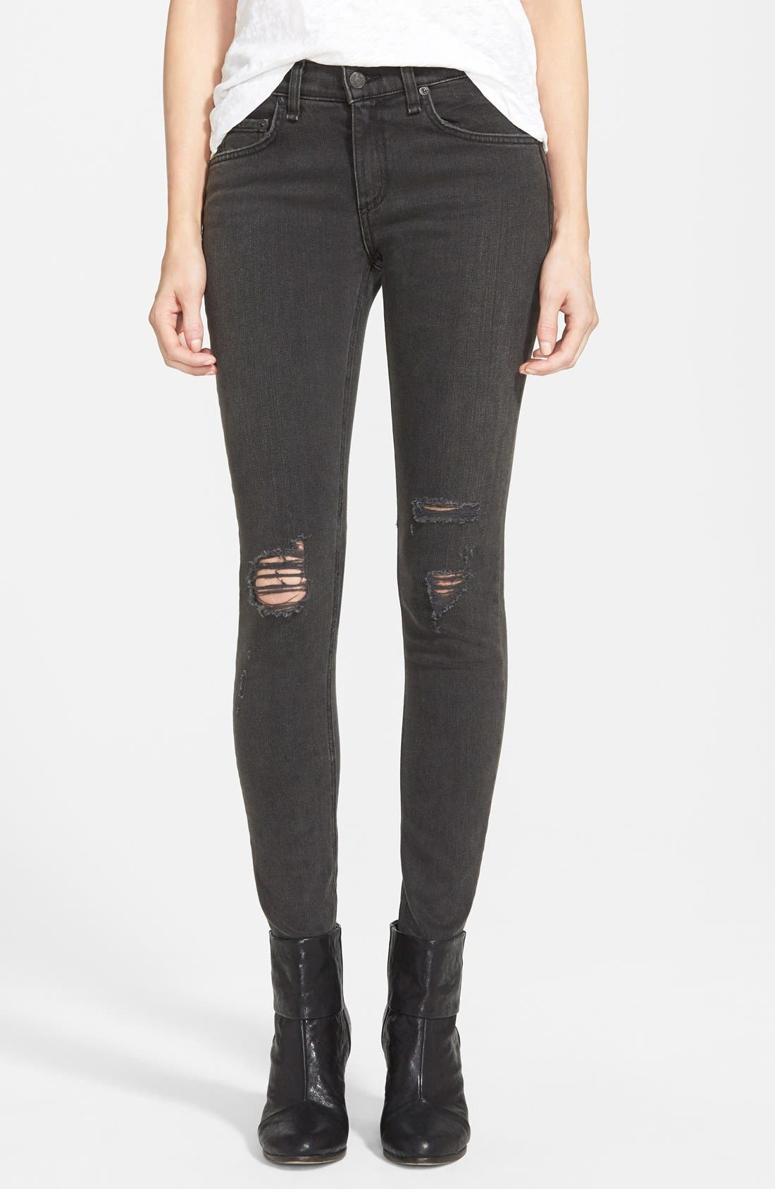 RAG & BONE JEAN Shredded Skinny Jeans, Main, color, 001