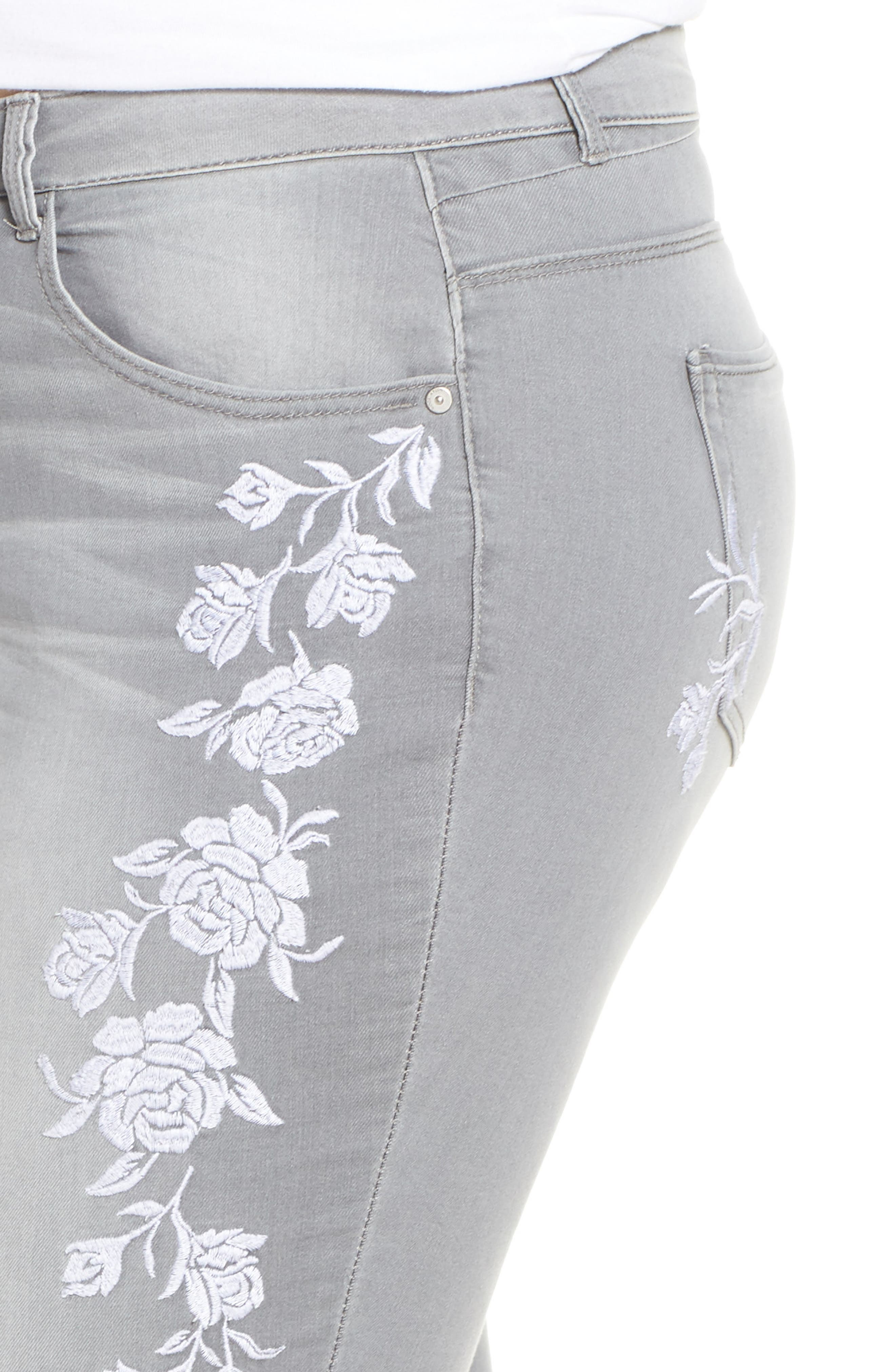 WIT & WISDOM, Embroidered High Waist Ankle Slim Jeans, Alternate thumbnail 5, color, GREY