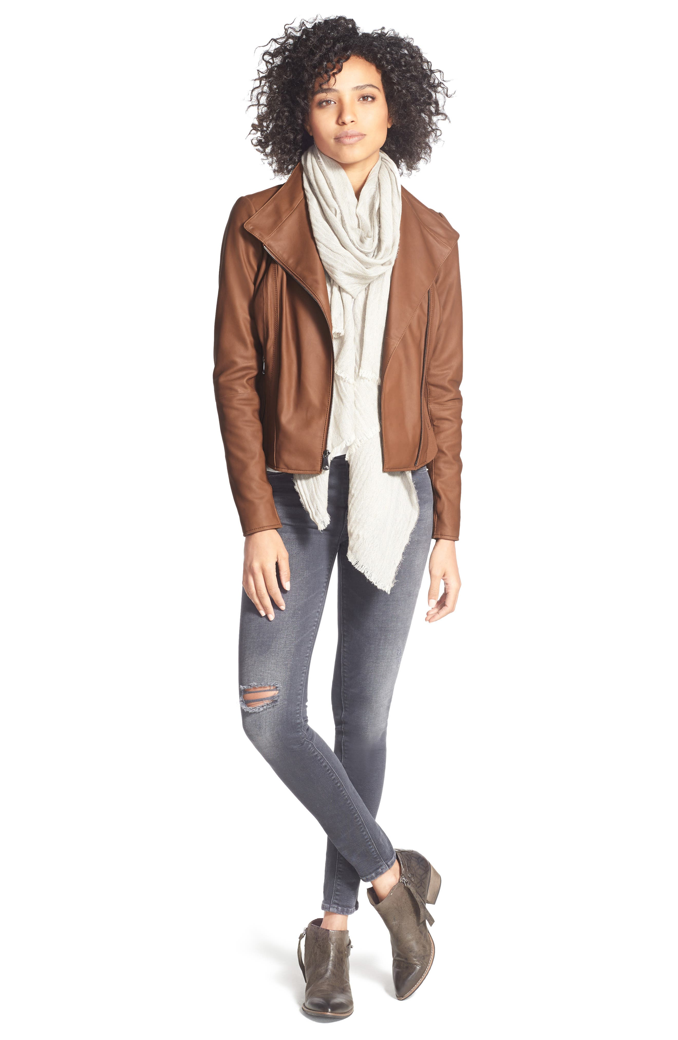 ANDREW MARC, Marc New York by Andrew Marc Felix Stand Collar Leather Jacket, Alternate thumbnail 8, color, WHISKEY