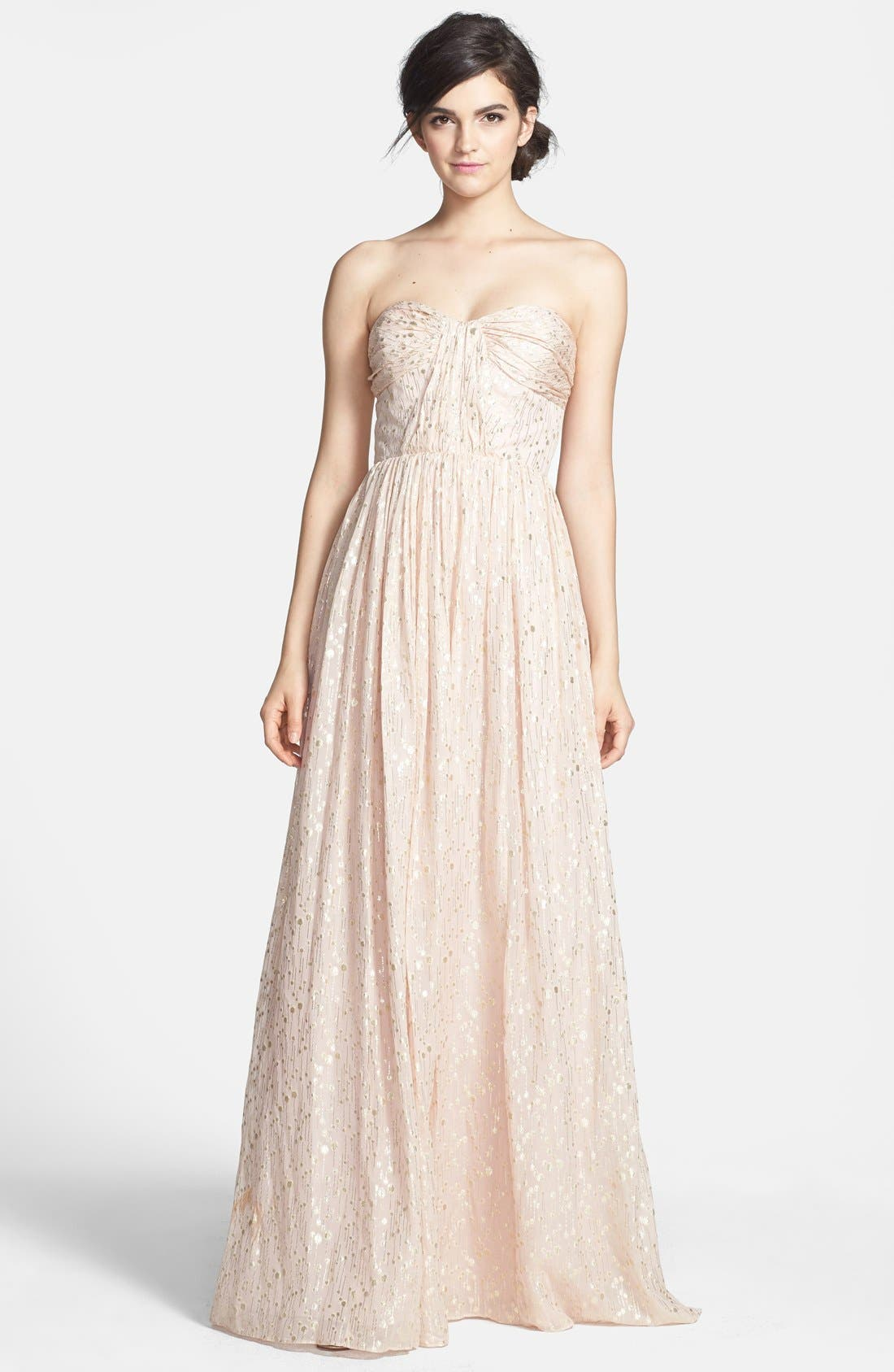ERIN ERIN FETHERSTON, 'Coralie' Foiled Silk Chiffon Gown, Main thumbnail 1, color, 689
