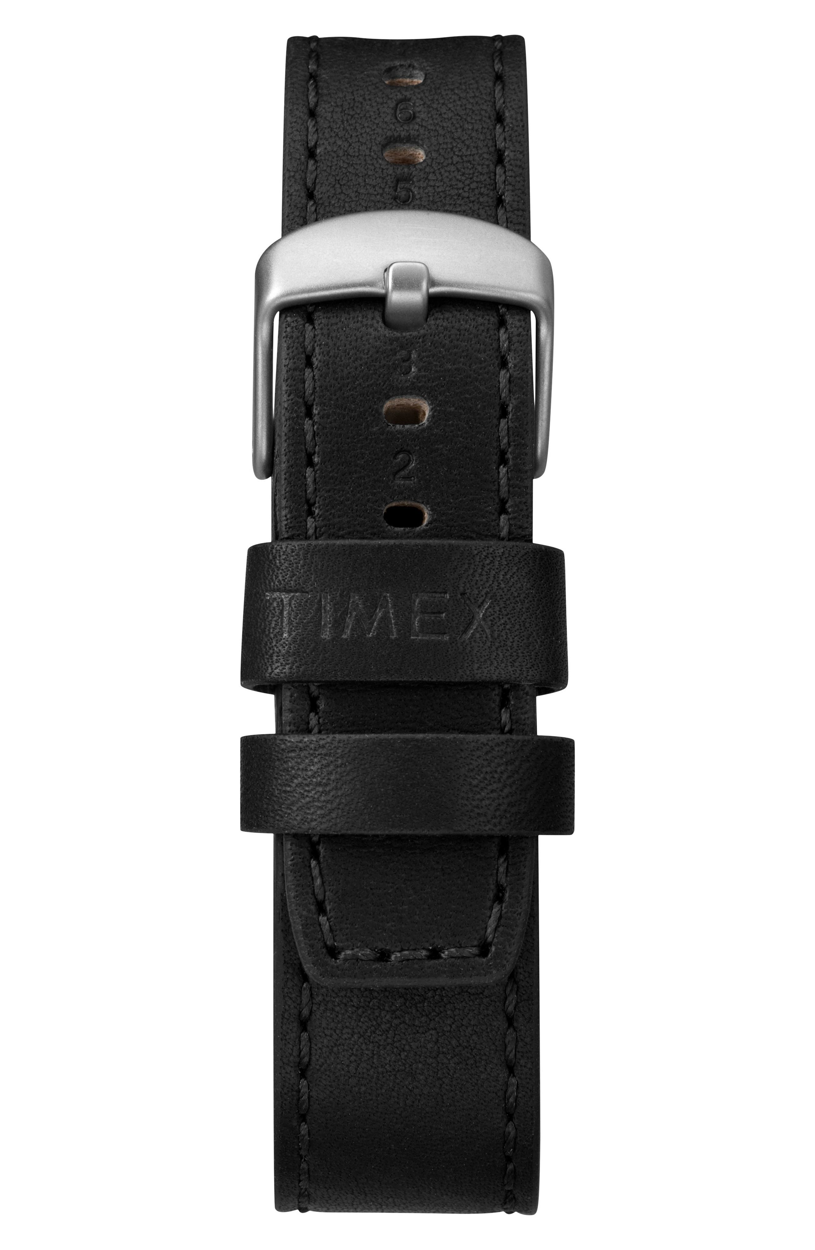 TIMEX<SUP>®</SUP>, Allied Leather Strap Watch, 43mm, Alternate thumbnail 3, color, BLACK/ SILVER
