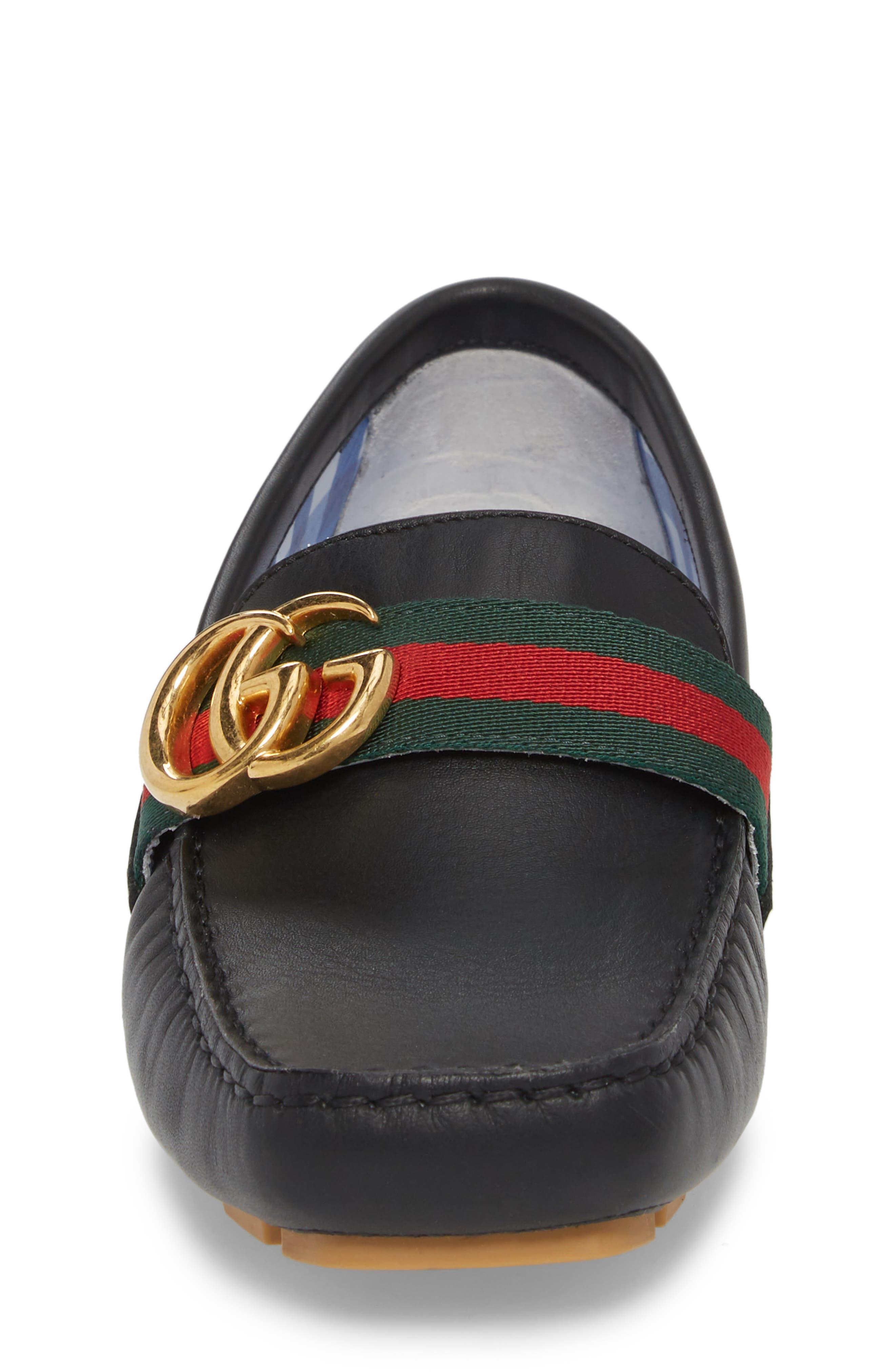 GUCCI, Noel Driving Loafer, Alternate thumbnail 4, color, BLACK