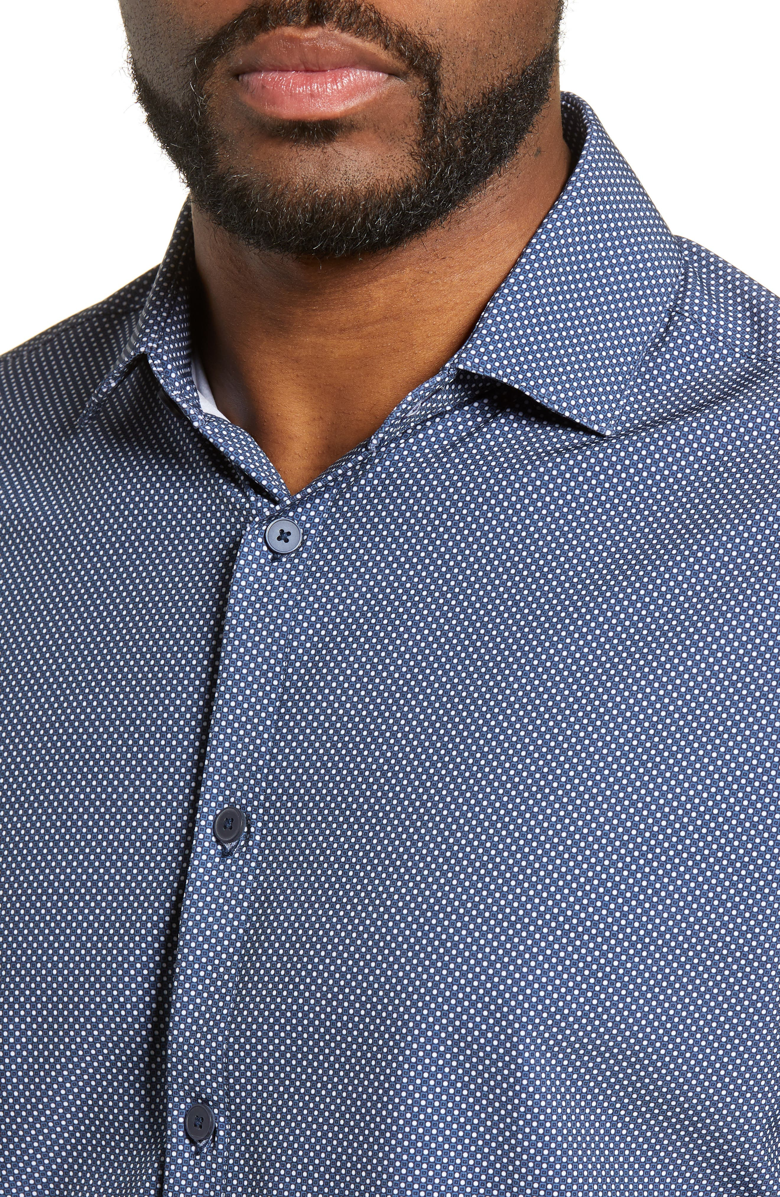 MIZZEN+MAIN, Murray Trim Fit Plaid Performance Sport Shirt, Alternate thumbnail 2, color, NAVY