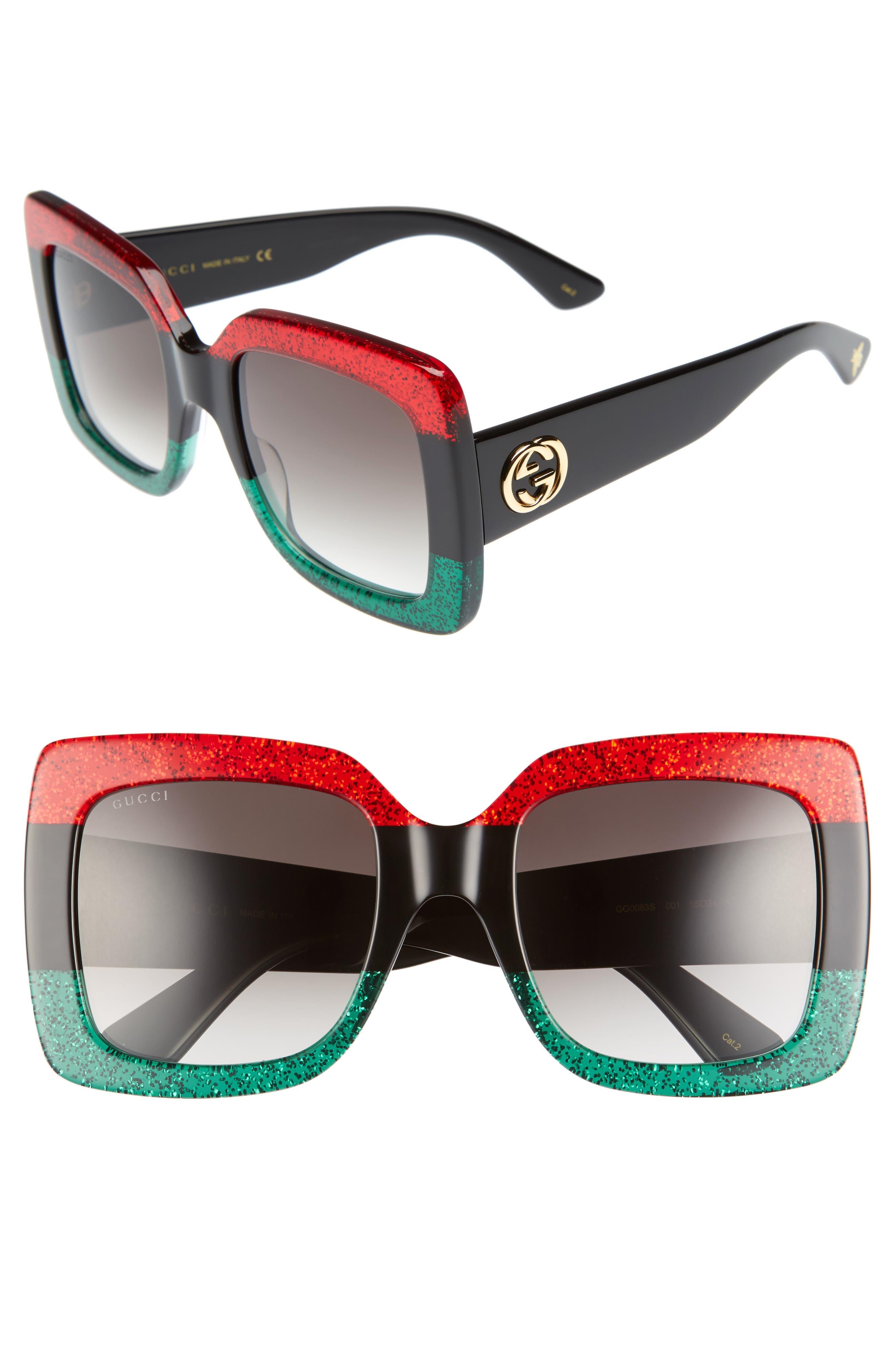 GUCCI 55mm Square Sunglasses, Main, color, RED BLACK GREEN/ GREY