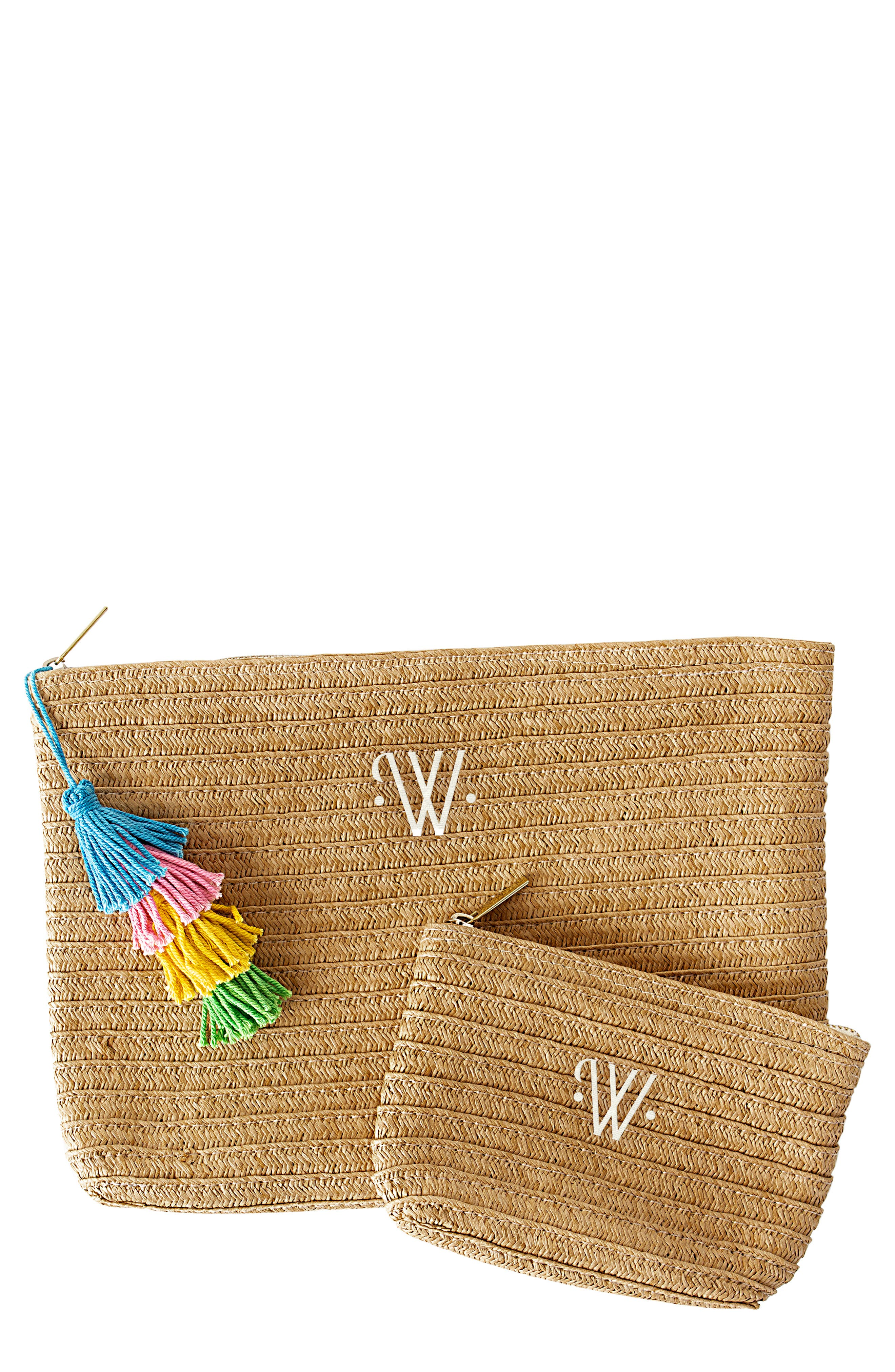 CATHY'S CONCEPTS, Set of 2 Monogram Straw Pouches, Main thumbnail 1, color, BROWN-W