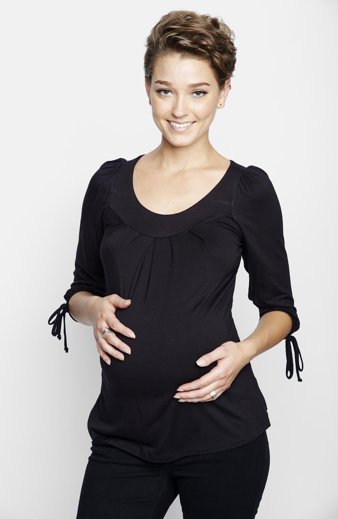 MATERNAL AMERICA, Maternity Tie Sleeve Top, Alternate thumbnail 9, color, BLACK