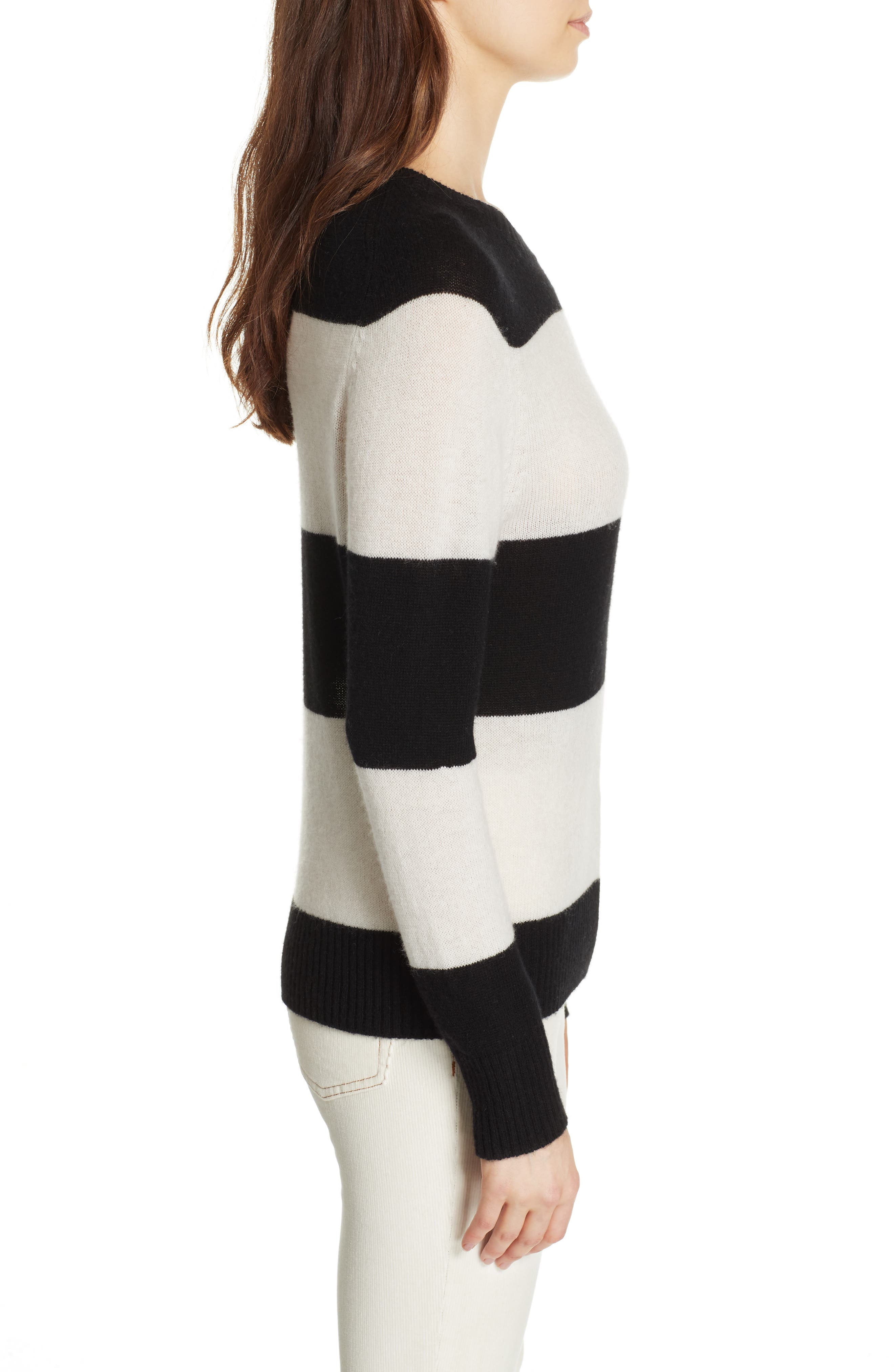 RE/DONE, Stripe Wool & Cashmere Sweater, Alternate thumbnail 3, color, BLACK/ IVORY